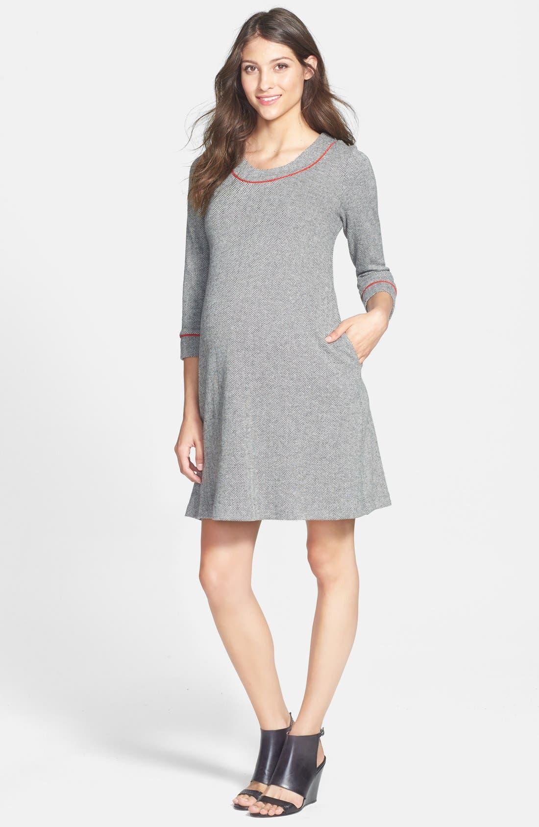 MATERNAL AMERICA Herringbone Maternity Dress