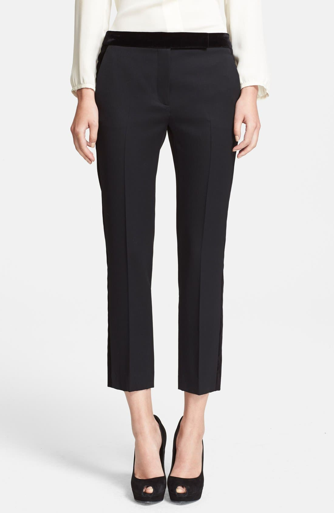 Alternate Image 1 Selected - Alexander McQueen Velvet & Grain de Poudre Crop Pants