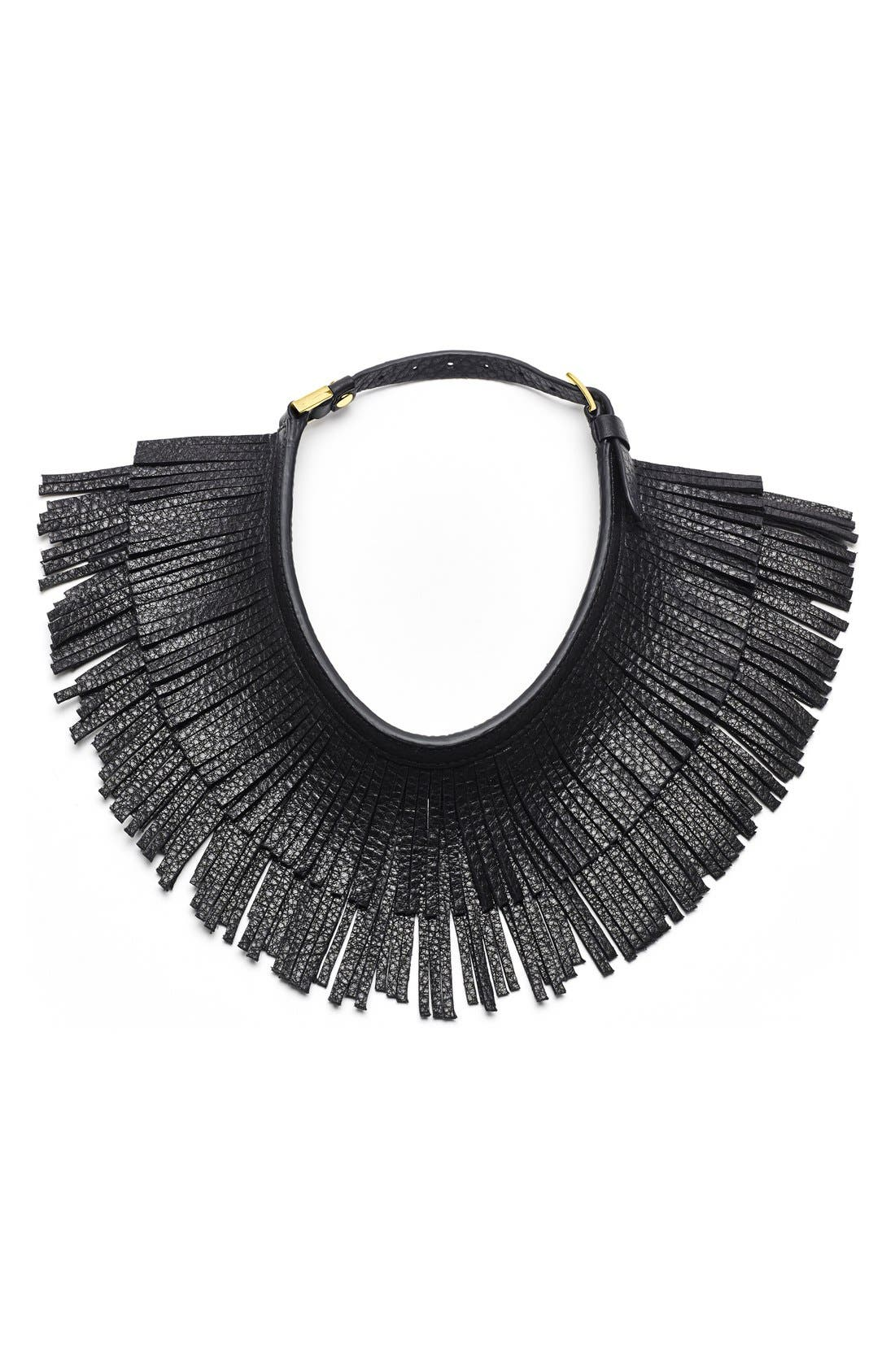 Alternate Image 1 Selected - Hayden-Harnett Leather Fringe Collar Necklace
