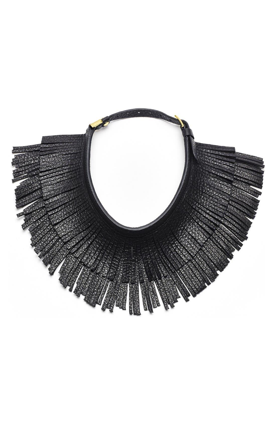 Main Image - Hayden-Harnett Leather Fringe Collar Necklace