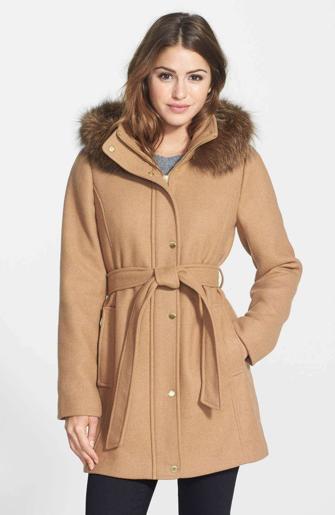 Main Image - Ellen Tracy Hooded Wool Blend Coat with Genuine Fox Fur Trim (Online Only)