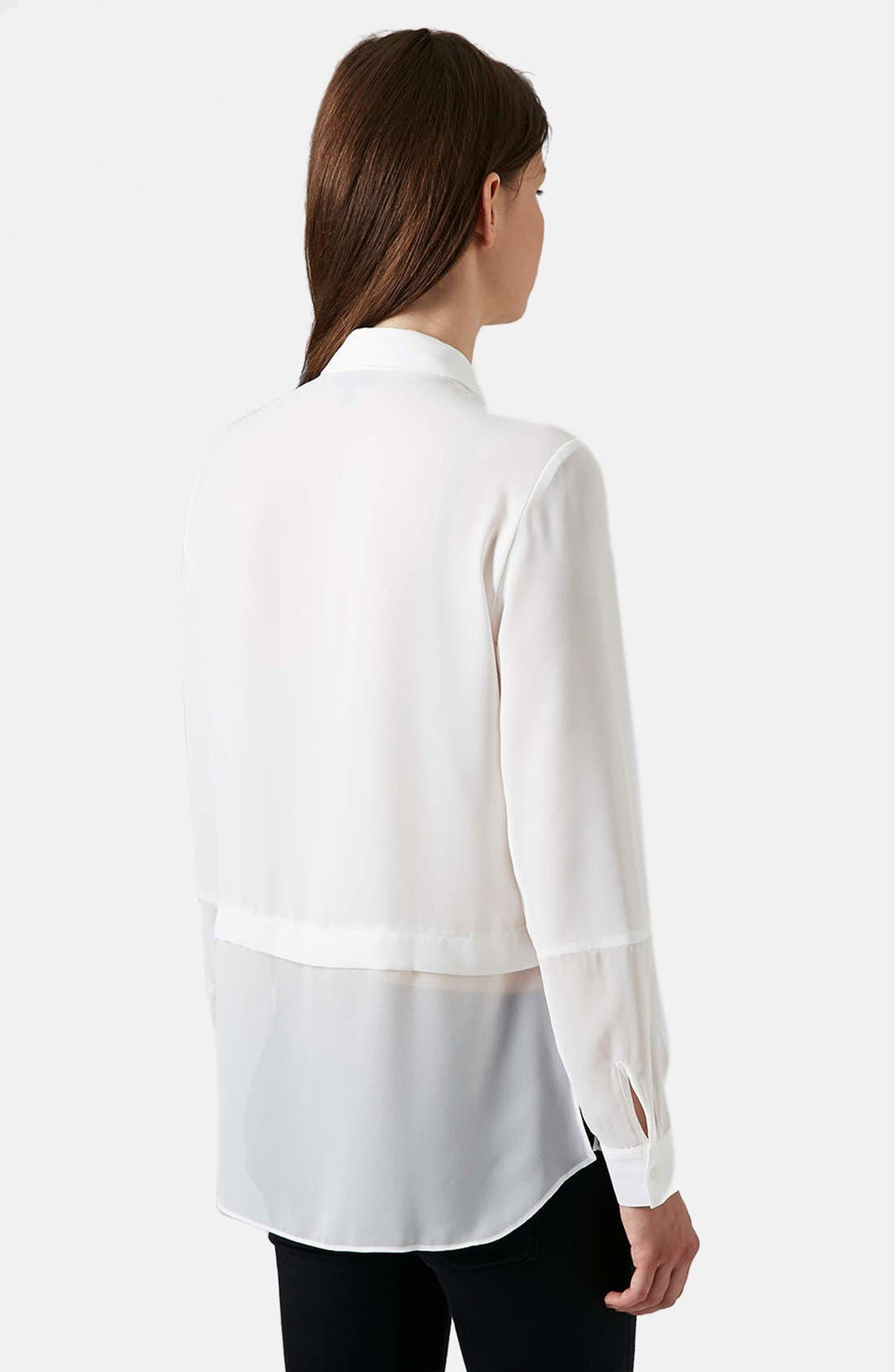 Alternate Image 2  - Topshop Sheer Panel Shirt
