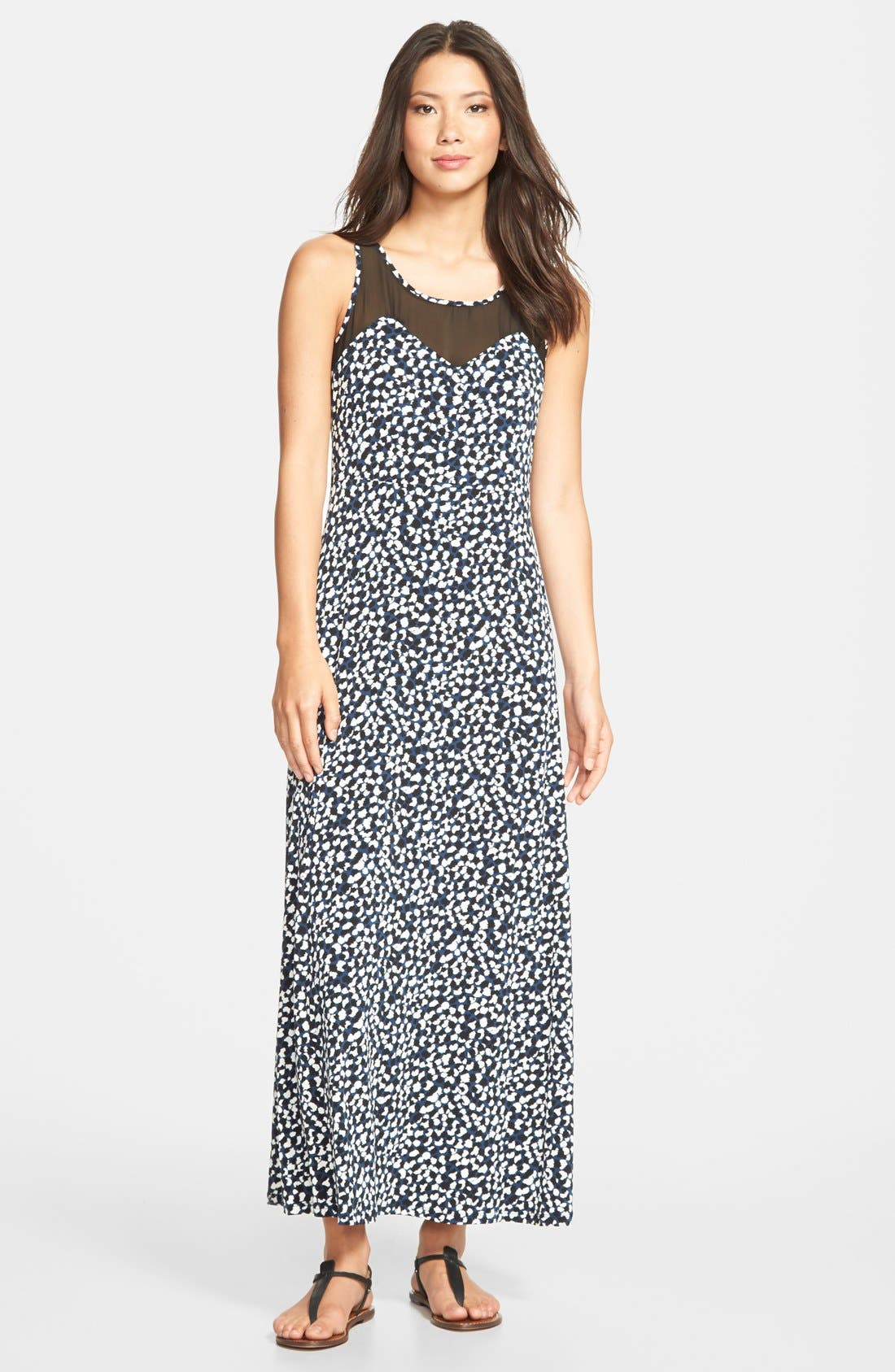 Alternate Image 1 Selected - Vince Camuto 'Doodle' Chiffon Overlay Maxi Dress