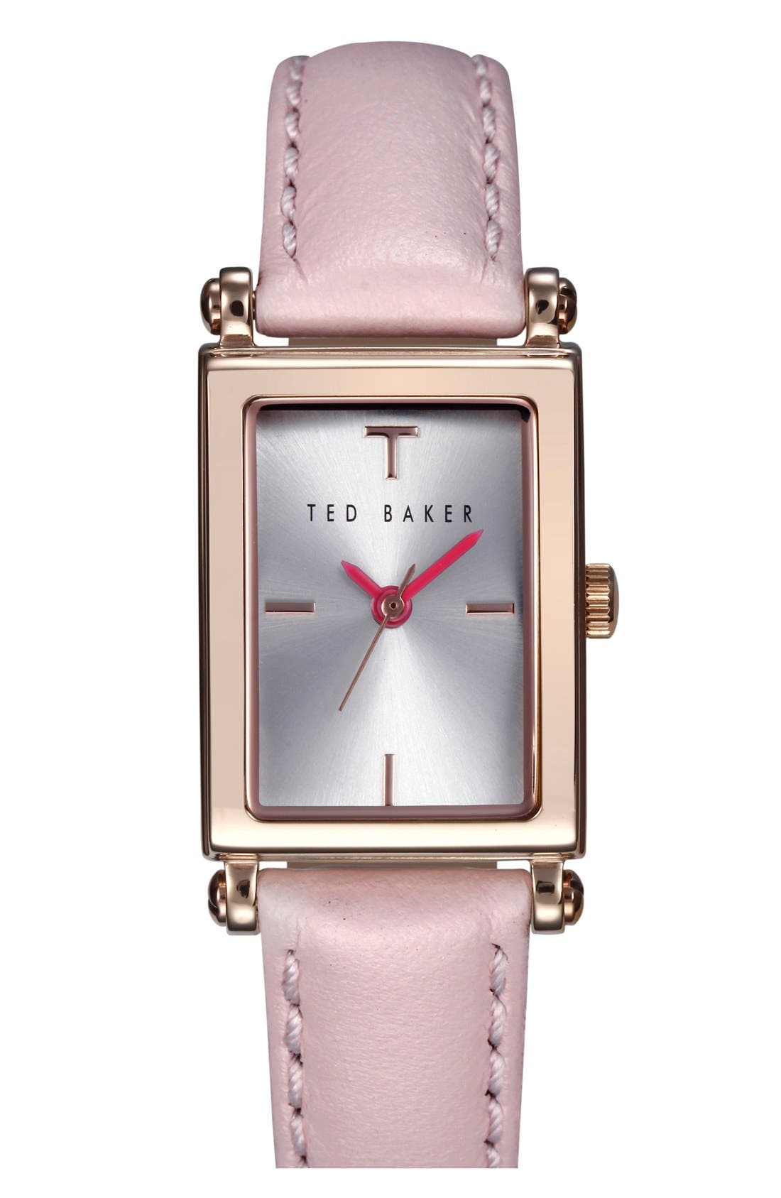 Main Image - Ted Baker London 'Bliss' Rectangle Case Leather Strap Watch, 20mm x 27mm