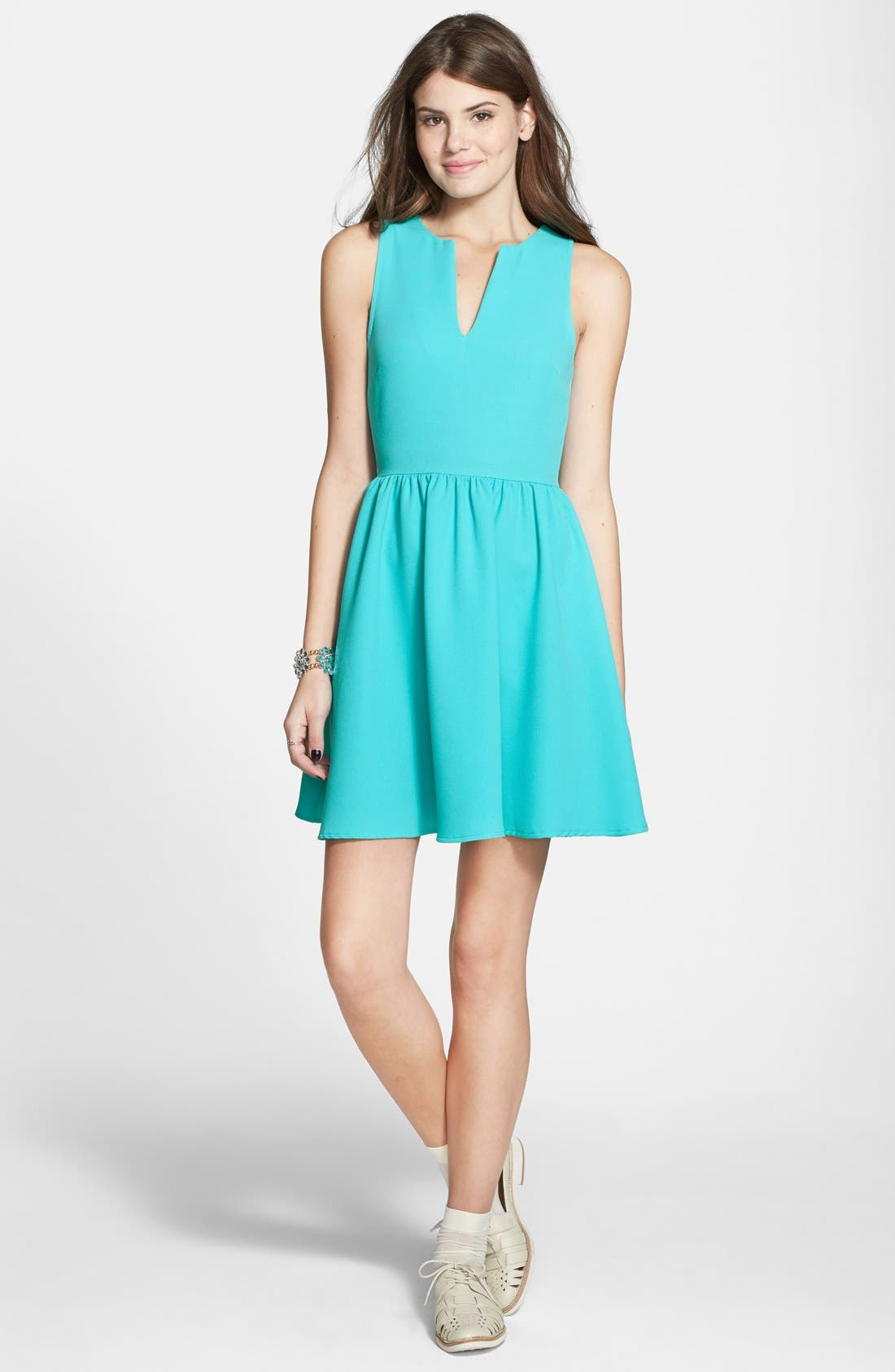 Alternate Image 3  - Everly Notch Neck Skater Dress (Juniors)