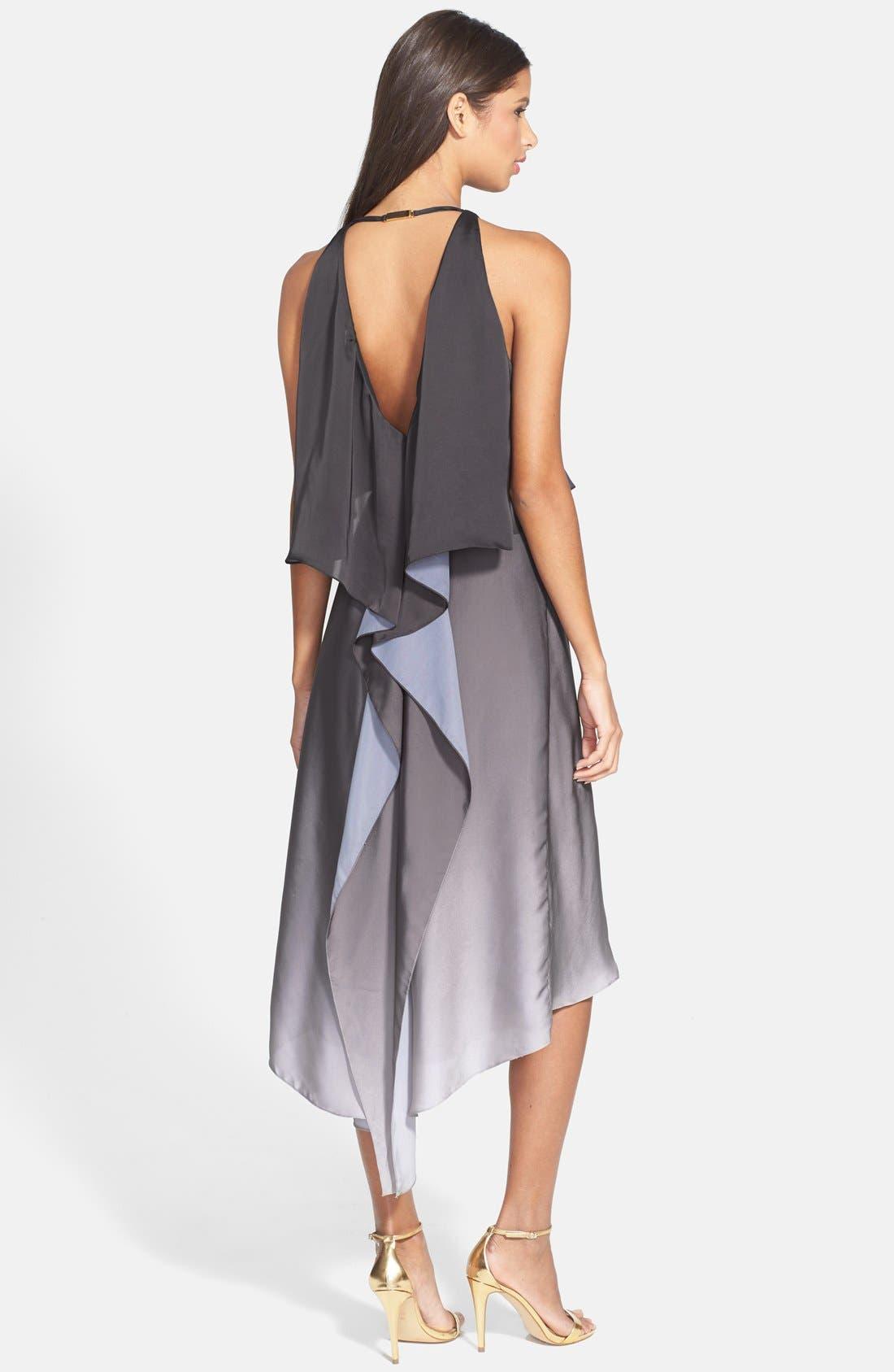 Alternate Image 2  - Halston Heritage Ruffle Back Ombré Charmeuse Dress