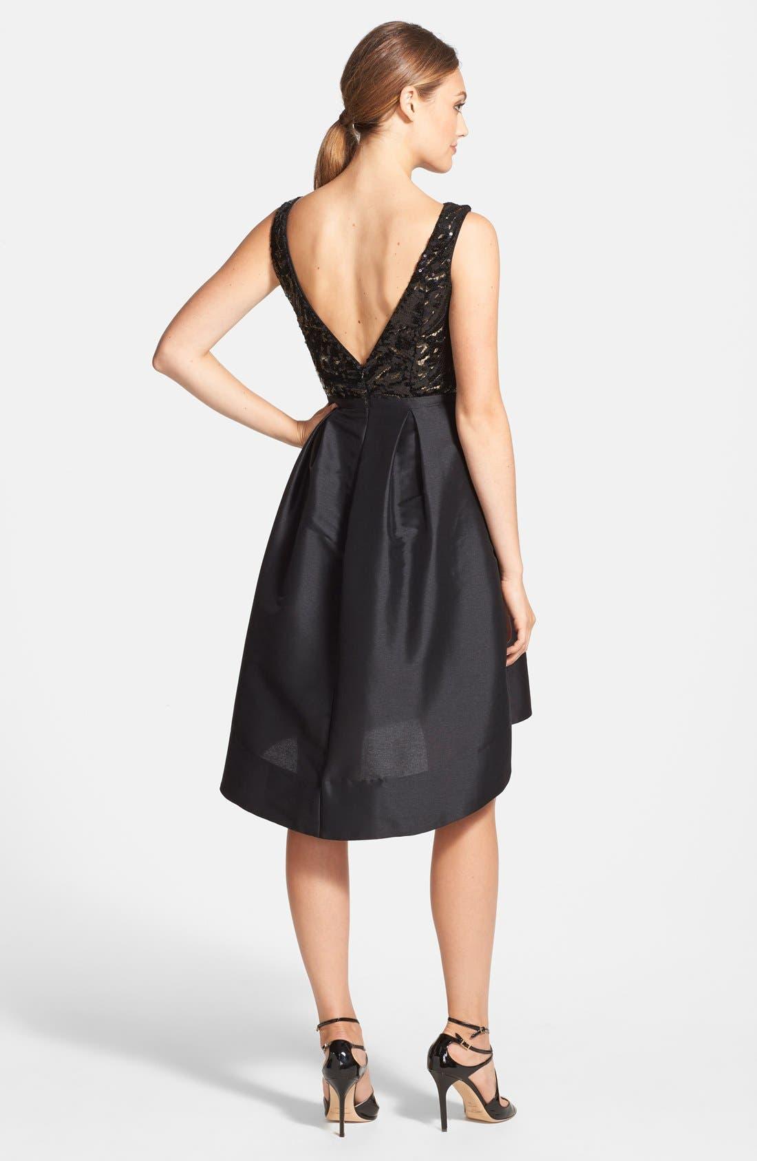 Alternate Image 2  - ML Monique Lhuillier Sequin Bodice Faille Fit & Flare Dress