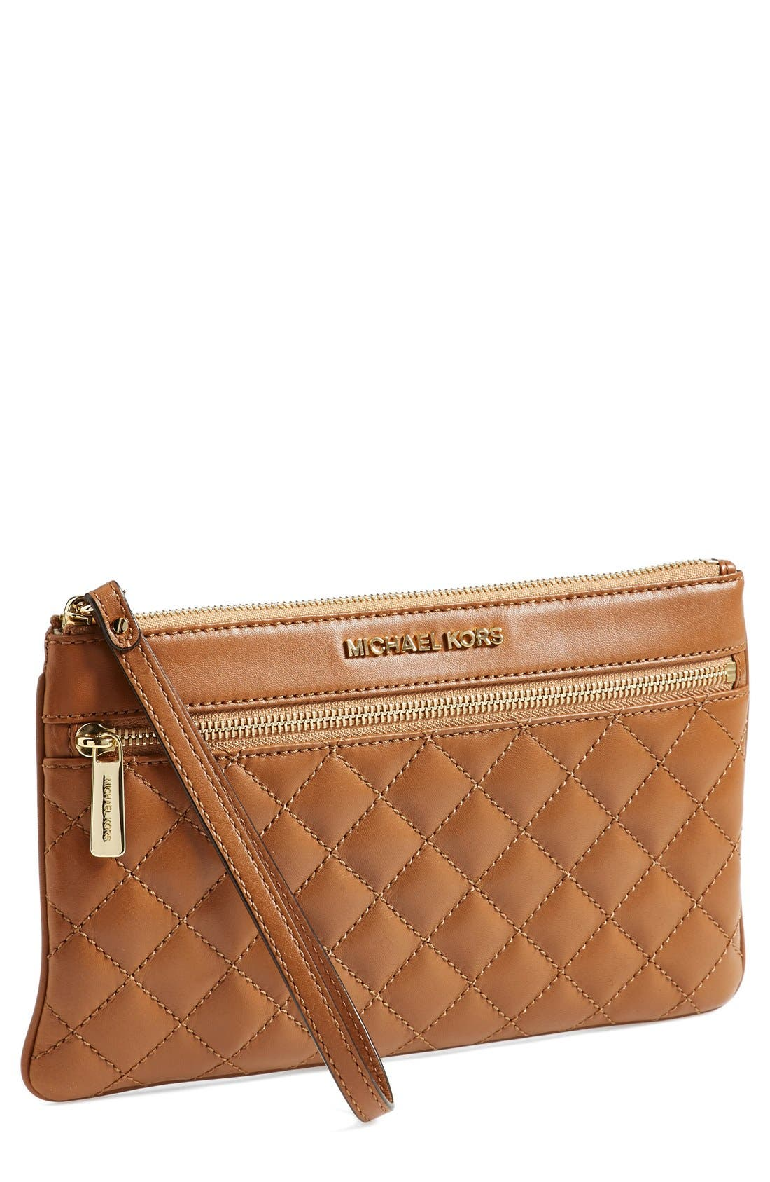Alternate Image 1 Selected - MICHAEL Michael Kors 'Selma' Quilted Leather Zip Clutch