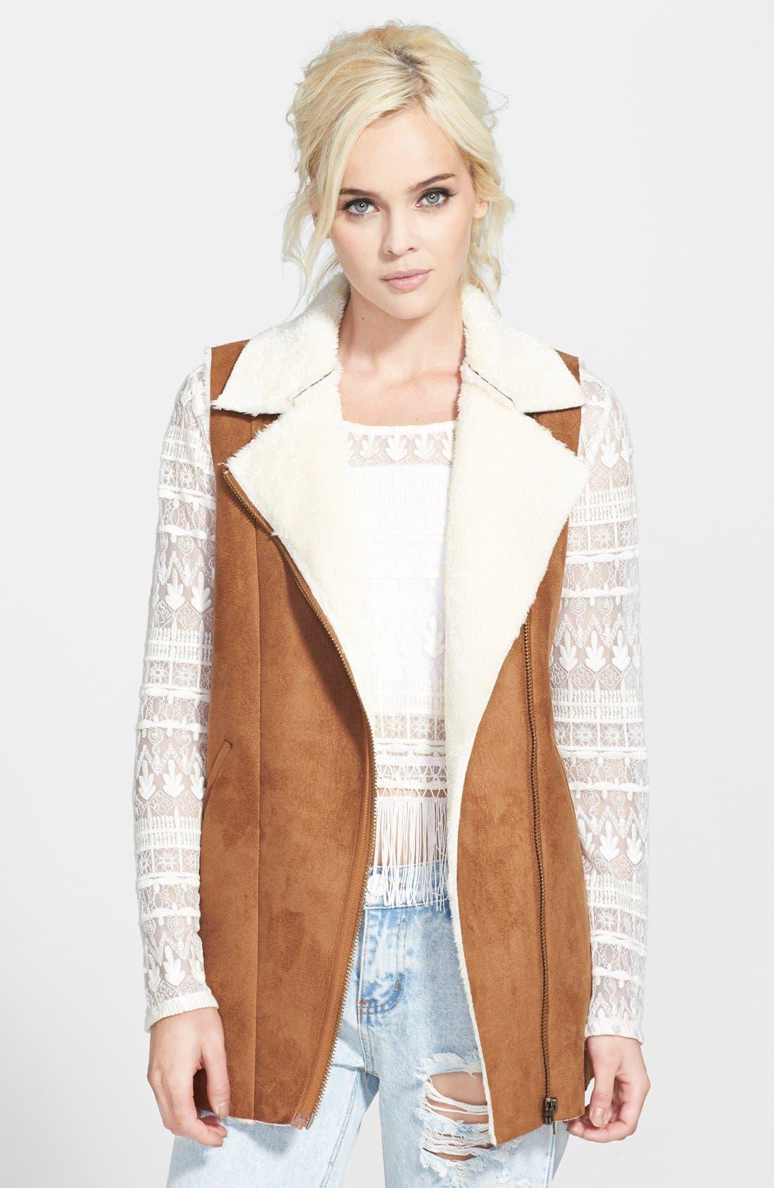 Alternate Image 1 Selected - re:named Vegan Shearling Long Vest