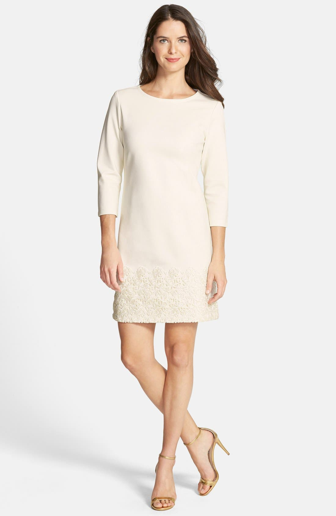 Alternate Image 3  - Taylor Dresses Ponte & Lace Shift Dress