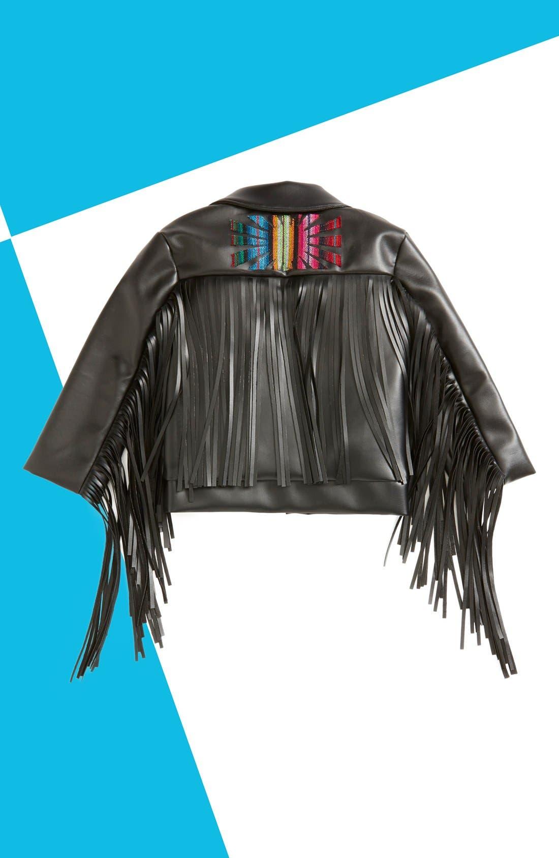 Main Image - Salvage Maria 'Janeesa' Faux Leather Fringe Jacket (Baby Girls & Toddler Girls)