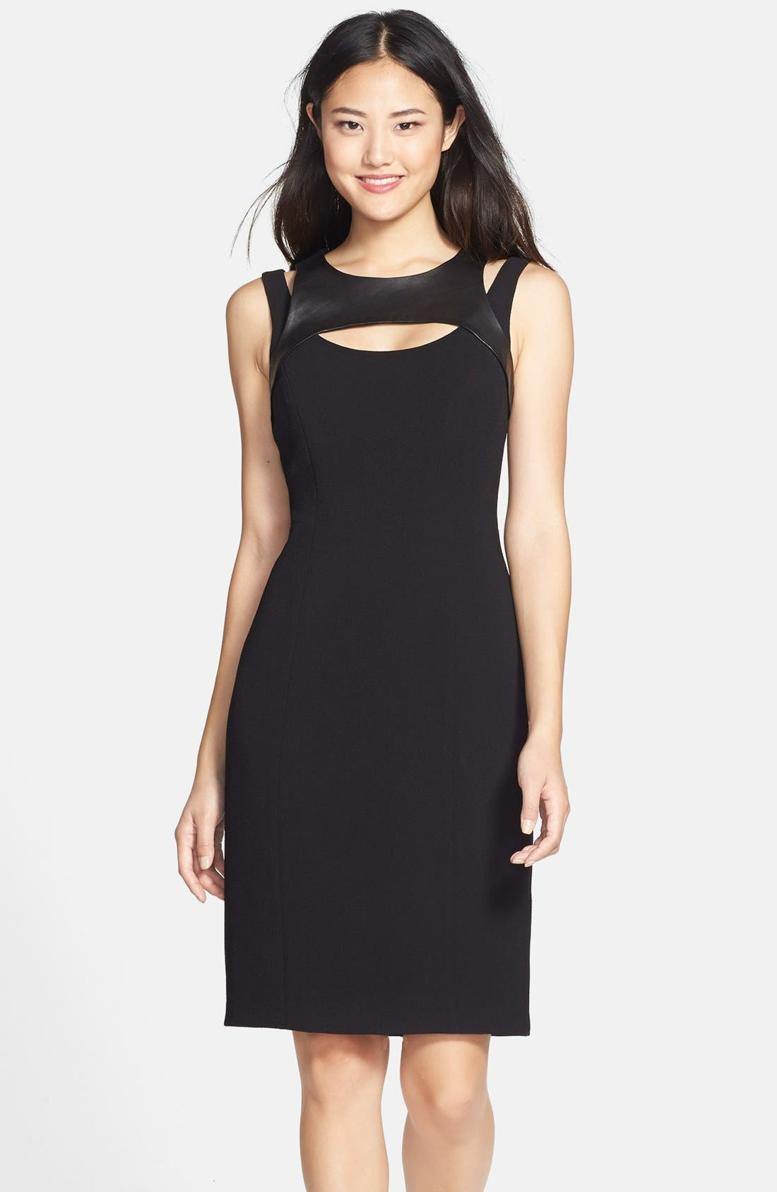 Alternate Image 1 Selected - Adrianna Papell Faux Leather Trim Cutout Sheath Dress
