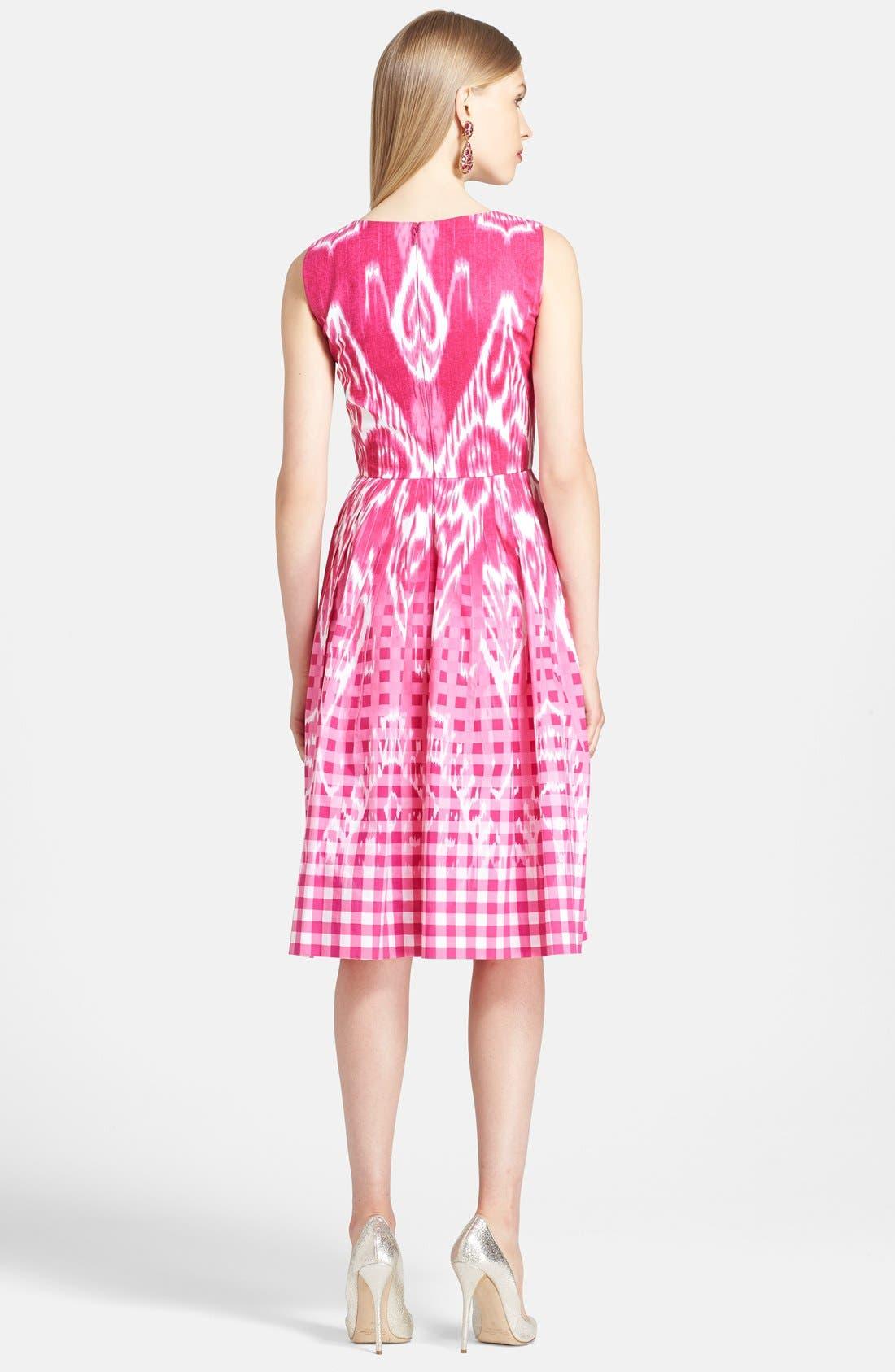 Alternate Image 2  - Oscar de la Renta Ikat Print Poplin Dress