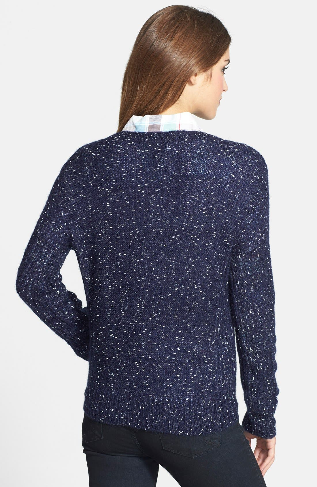 Alternate Image 2  - Halogen® Metallic Knit Crewneck Sweater