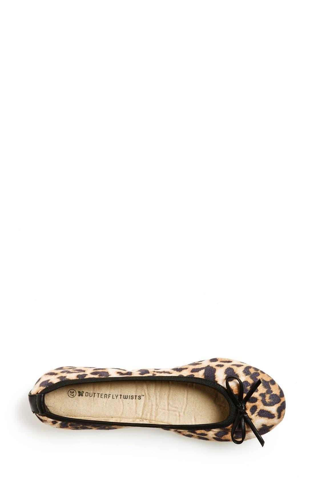 Alternate Image 3  - Butterfly Twists 'Cleo Leopard' Foldable Ballerina Flat (Women)