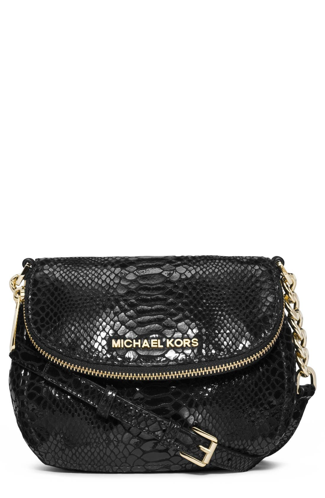 Alternate Image 1 Selected - MICHAEL Michael Kors 'Bedford' Python Embossed Leather Crossbody Bag