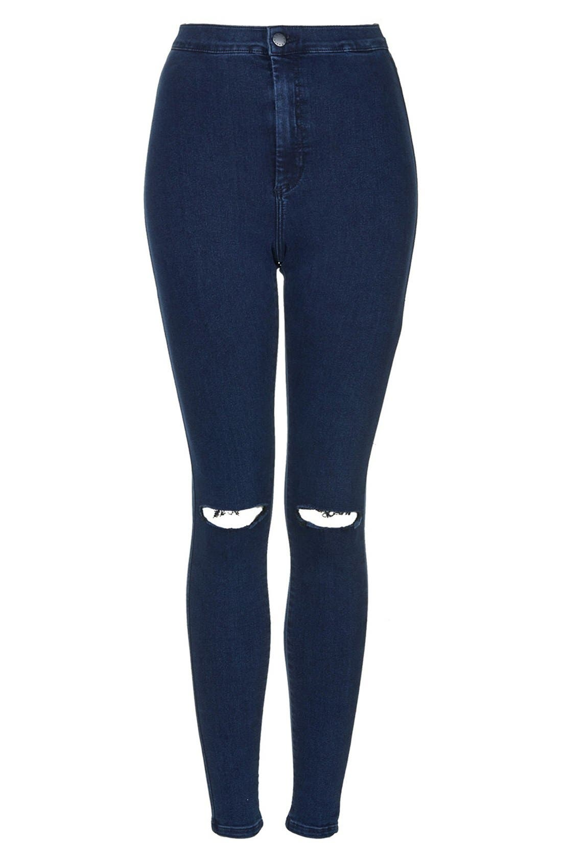 Alternate Image 3  - Topshop Moto 'Joni' Ripped High Rise Skinny Jeans (Blue) (Petite)