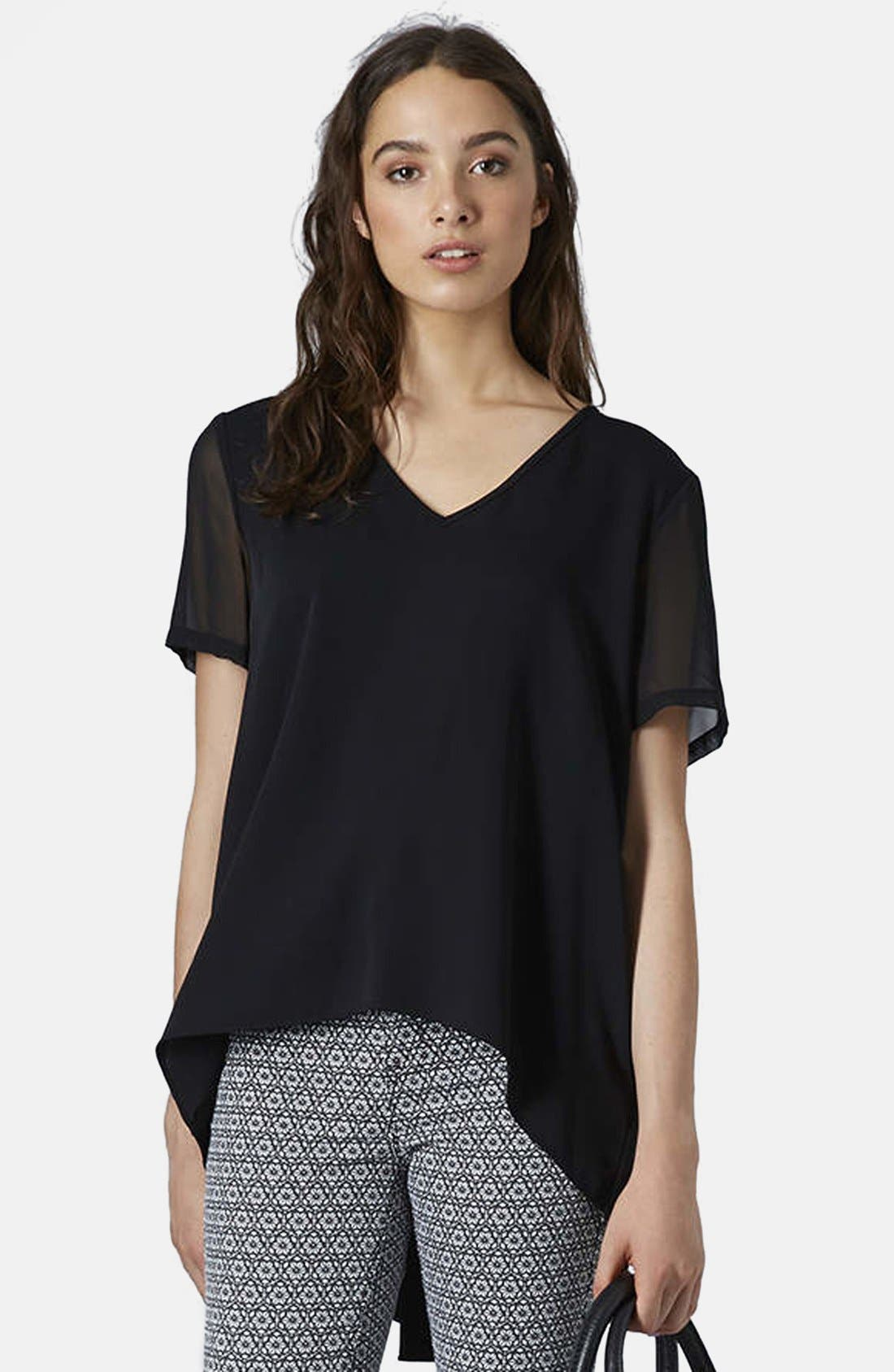 Alternate Image 3  - Topshop Chiffon Sleeve High/Low Top
