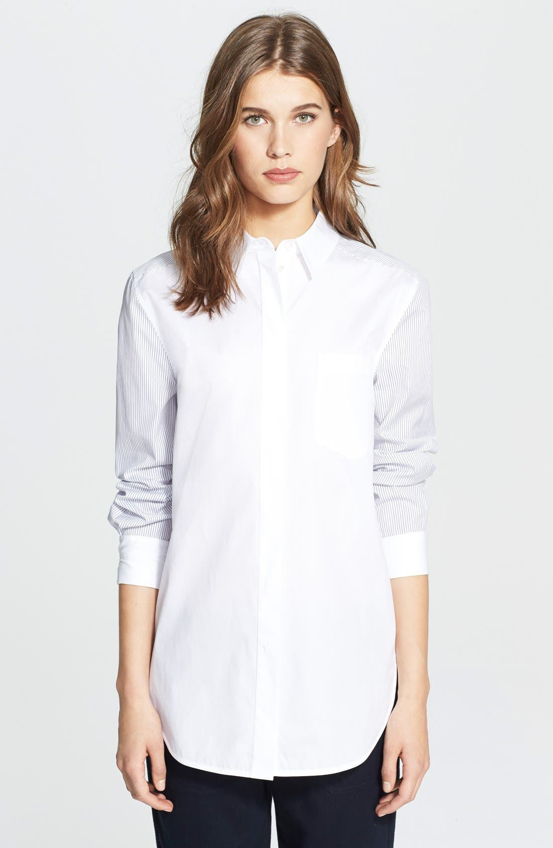 Alternate Image 1 Selected - Vince Mixed Shirting Button Up Blouse