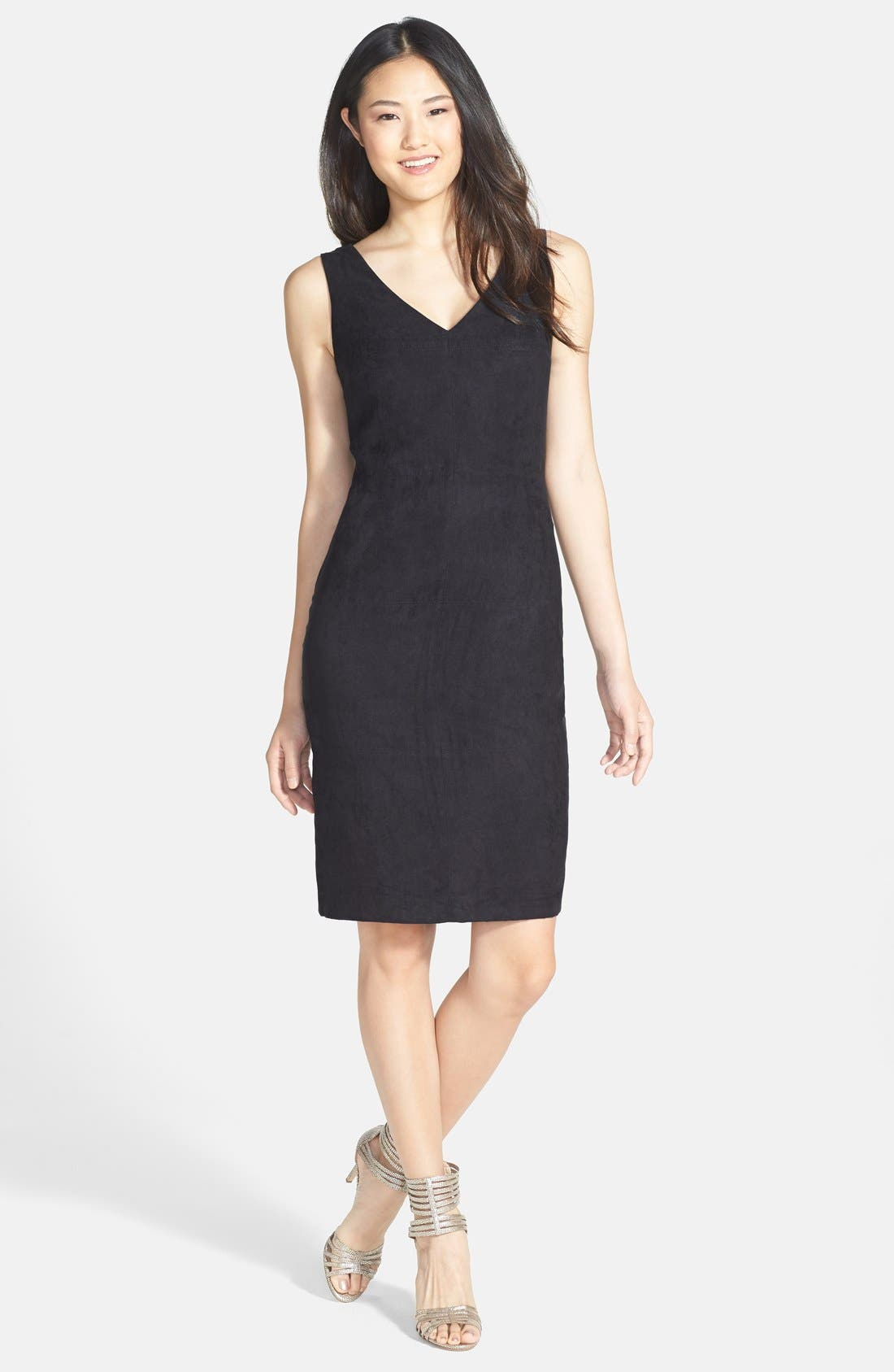 Alternate Image 3  - Vince Camuto Faux Suede Front Sheath Dress (Regular & Petite)