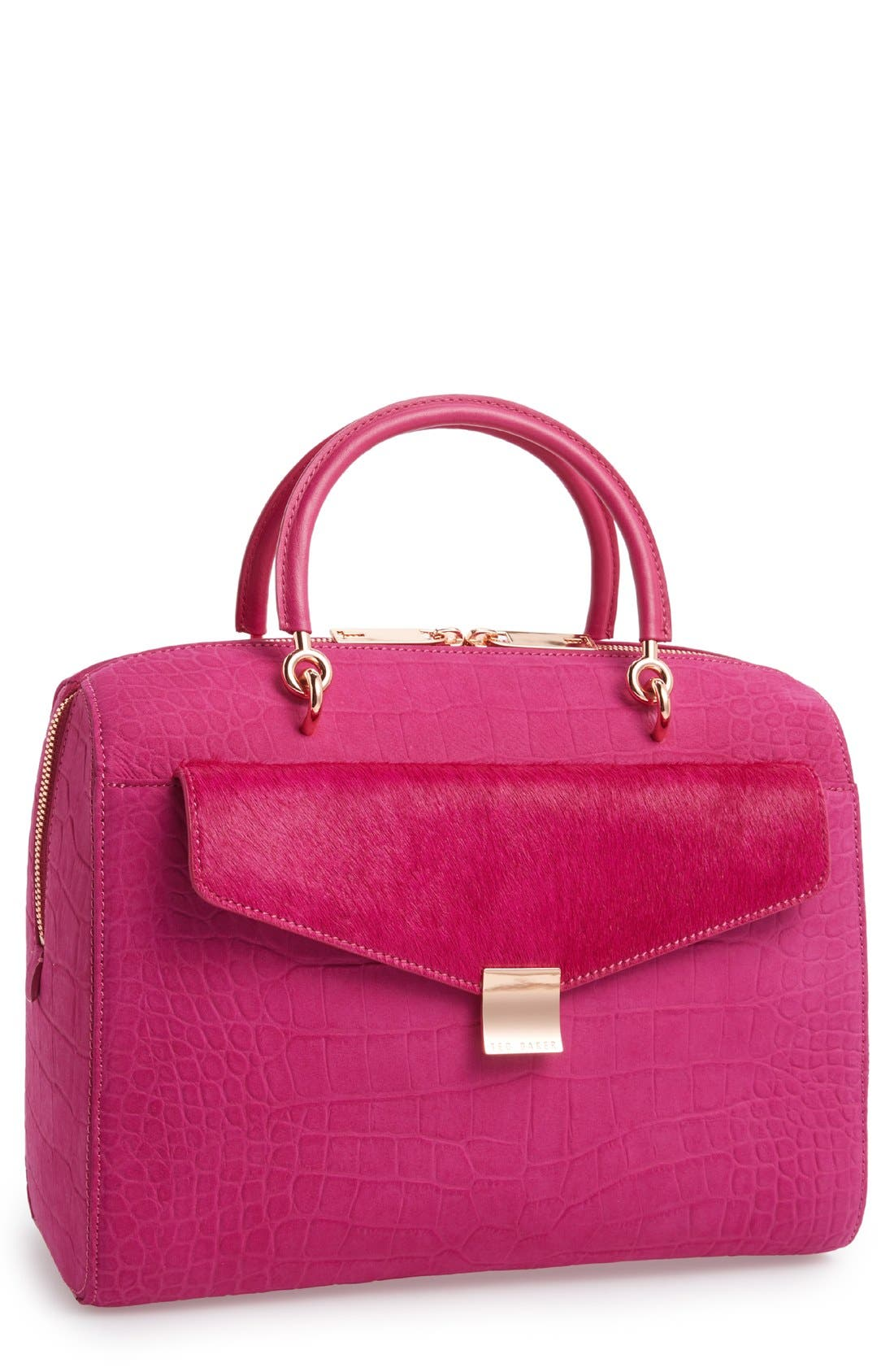 Alternate Image 1 Selected - Ted Baker London 'Alexia' Removable Clutch Embossed Bowler Bag