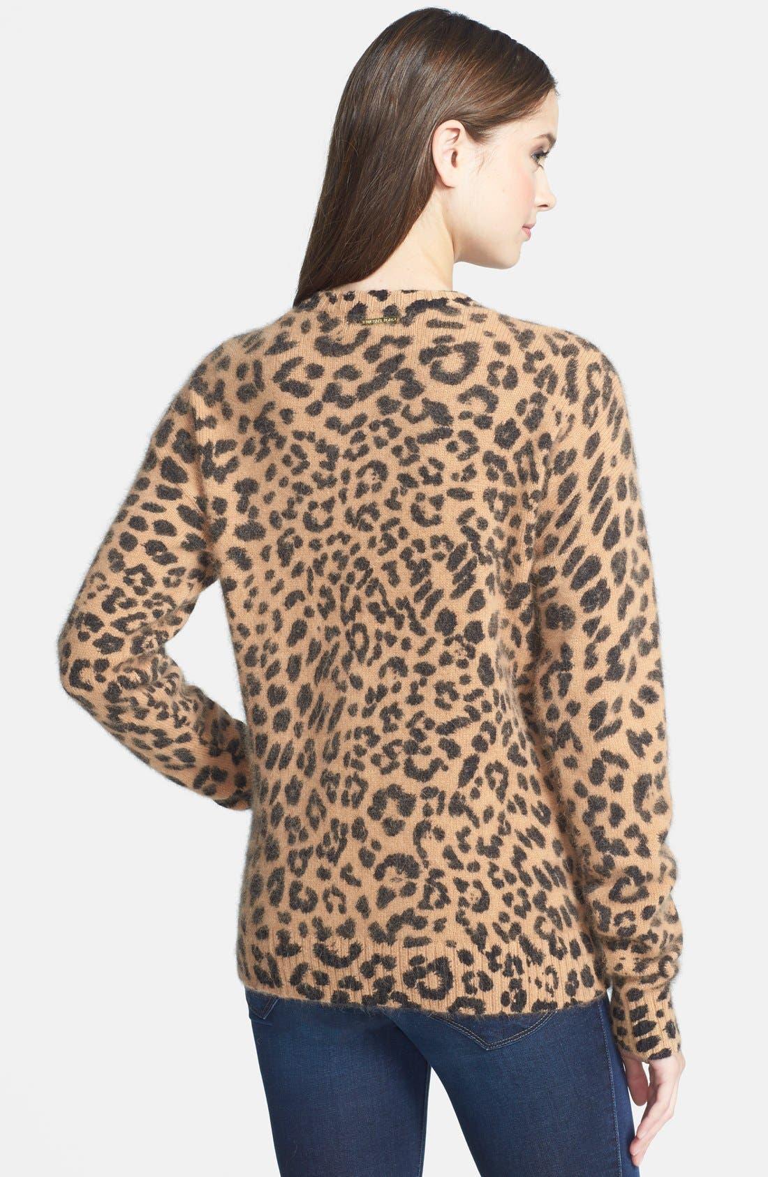 Alternate Image 2  - MICHAEL Michael Kors Leopard Print V-Neck Sweater