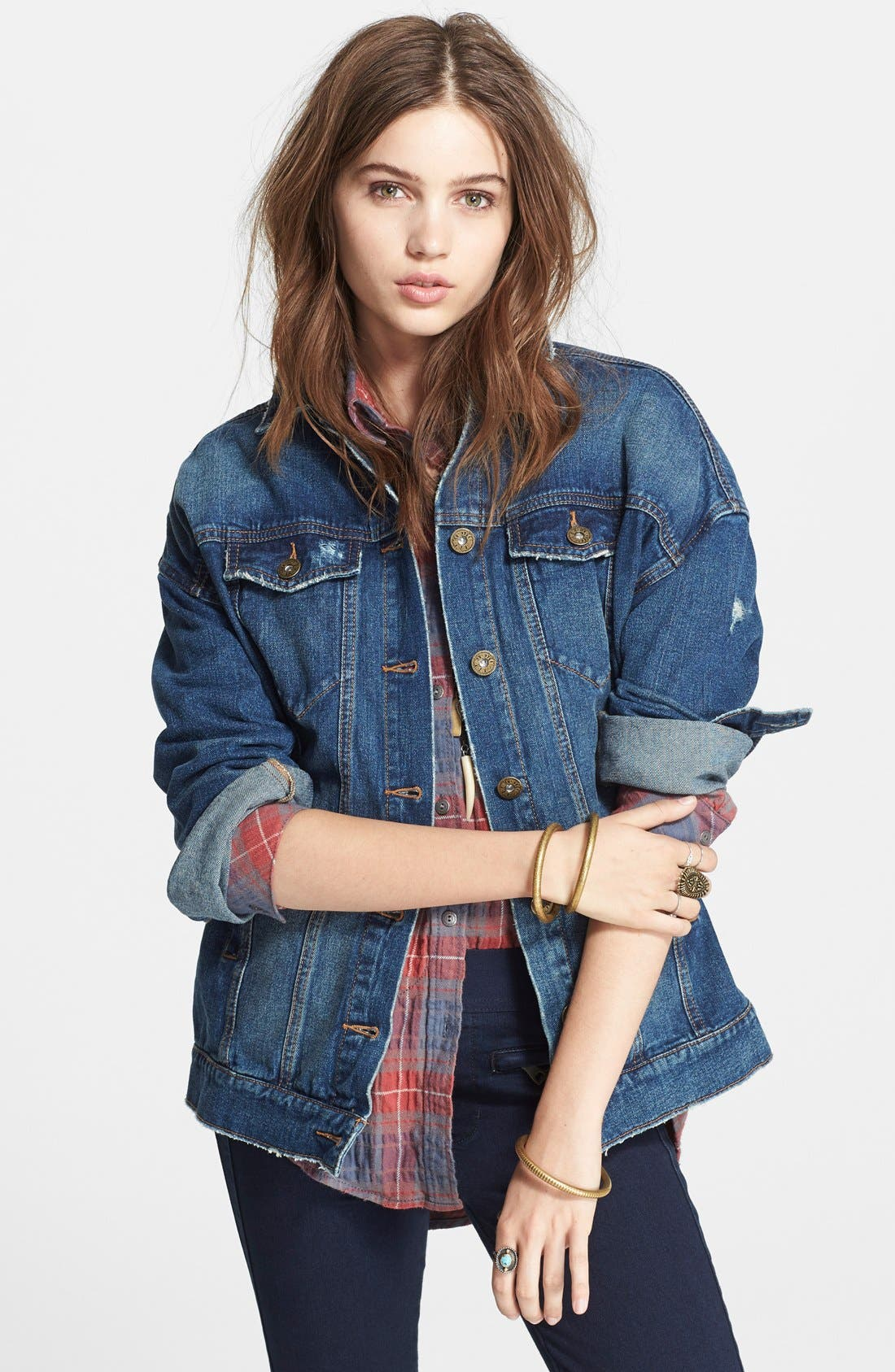 Alternate Image 1 Selected - Free People Long Denim Jacket