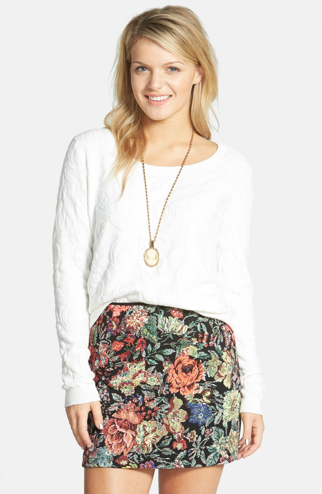 Main Image - Lush Print Textured A-Line Skirt (Juniors)