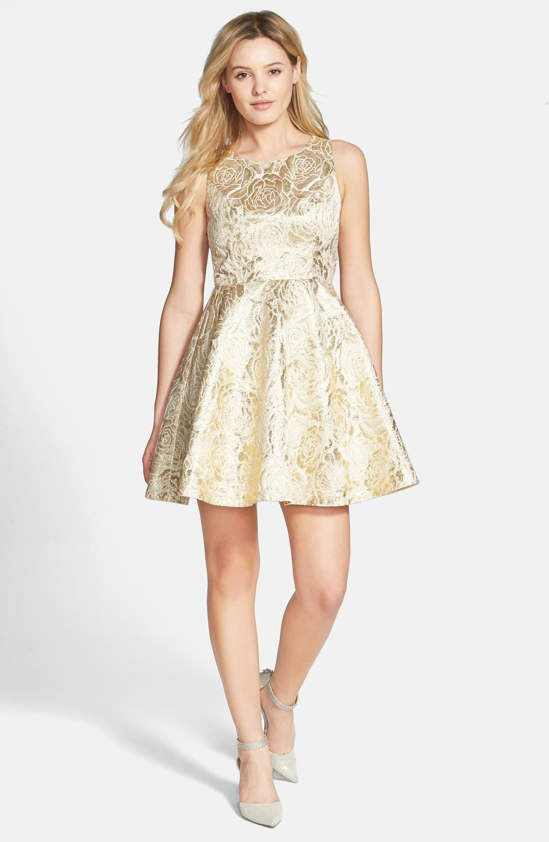 Main Image - a. drea Rose Foil Skater Dress (Juniors)