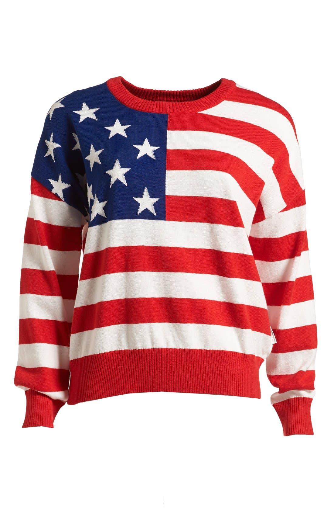 Alternate Image 1 Selected - :CHOCOOLATE US Flag Knit Sweater (Women)