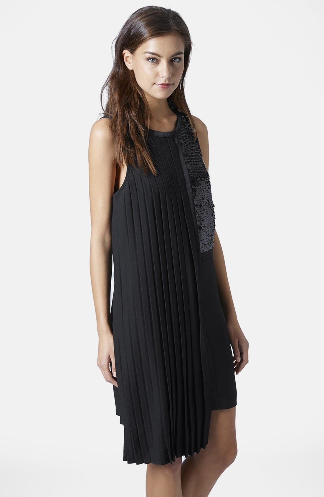 Main Image - Topshop Sequin and Pleat Panel Shift Dress