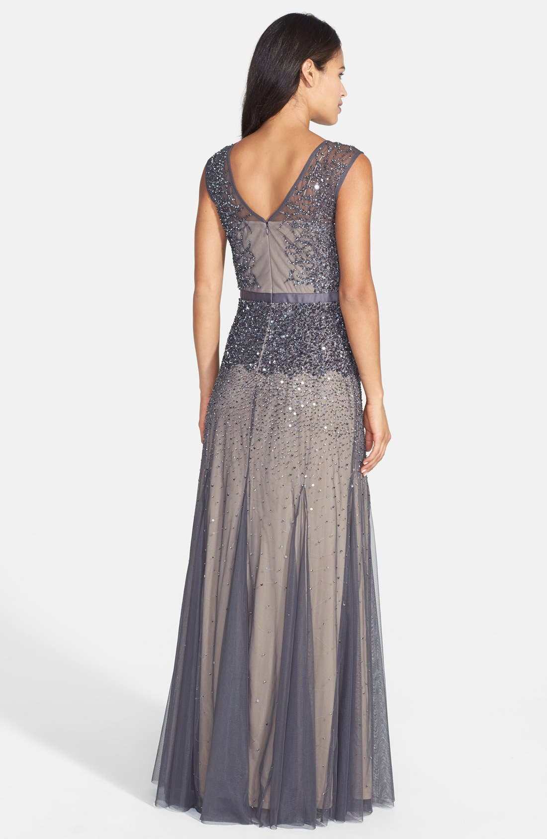 Alternate Image 2  - Adrianna Papell Beaded Chiffon Gown (Regular & Petite)