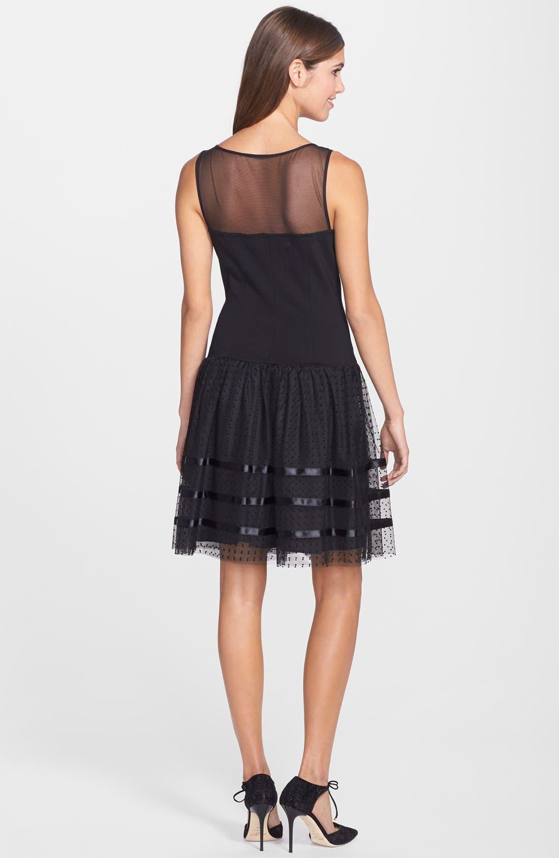 Alternate Image 2  - Betsey Johnson Illusion Yoke Dot Mesh Fit & Flare Dress