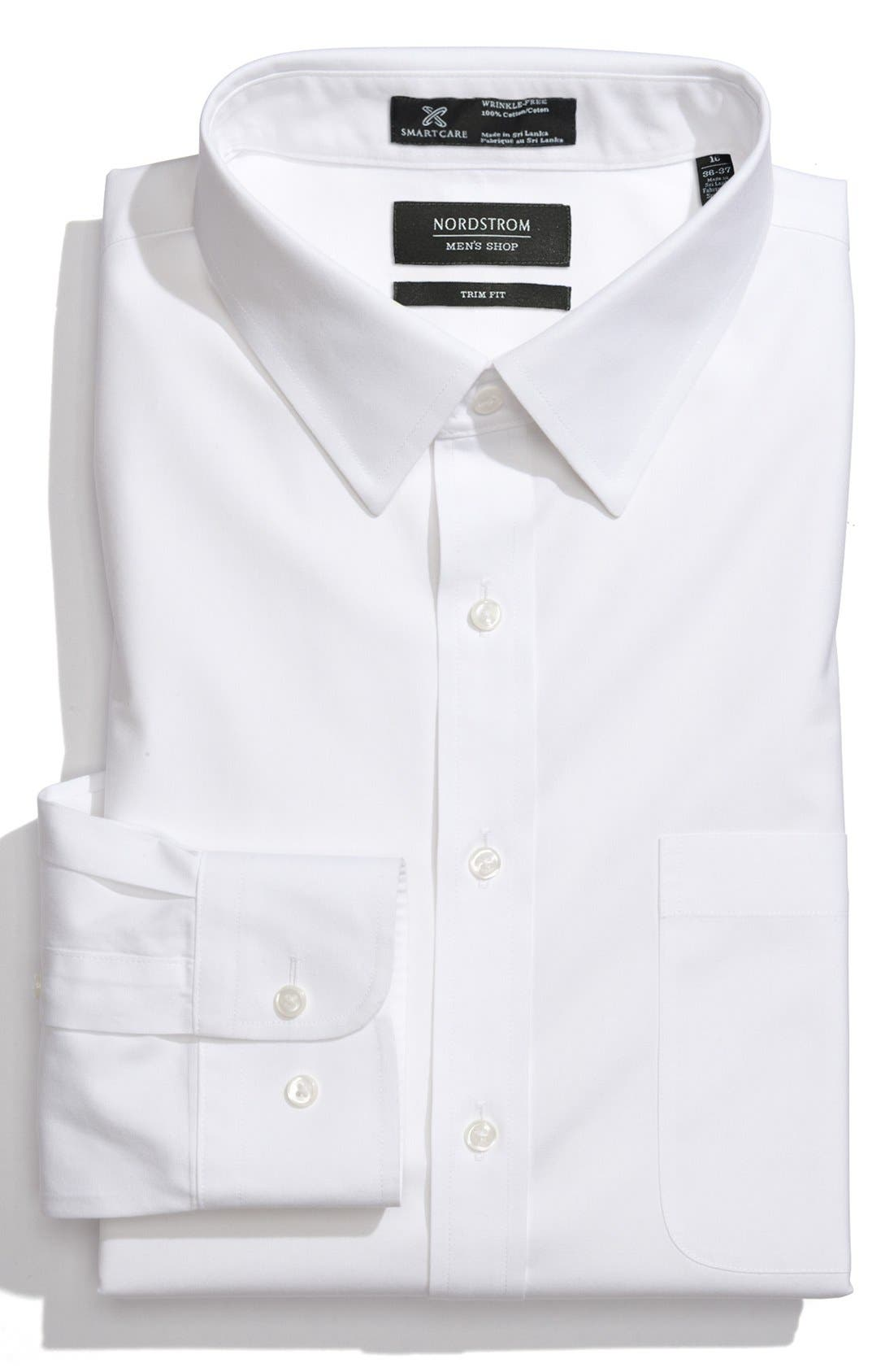 Main Image - Nordstrom Men's Shop Smartcare™ Trim Fit Solid Dress Shirt