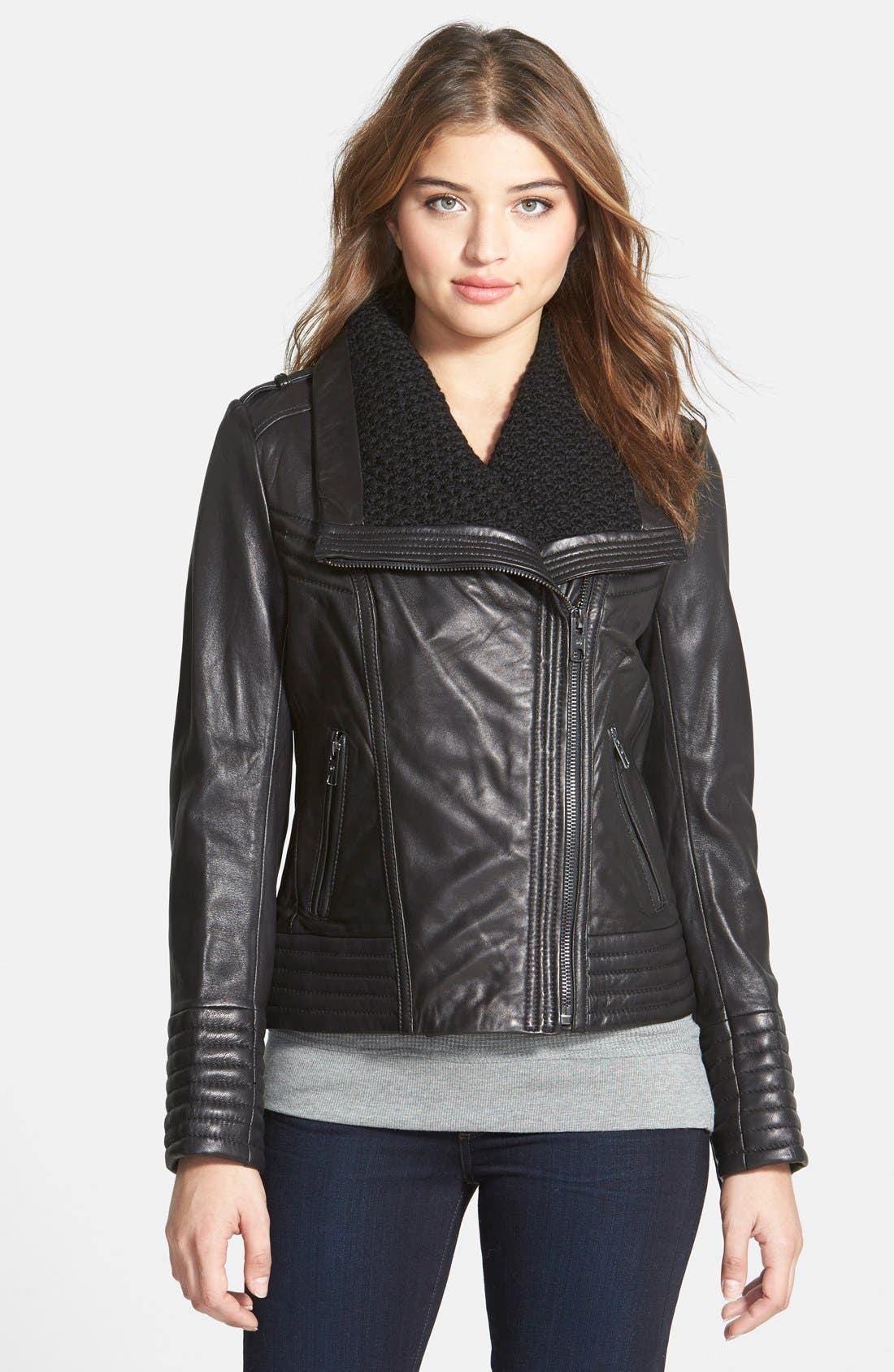 Alternate Image 1 Selected - MICHAEL Michael Kors Knit Collar Asymmetrical Leather Jacket