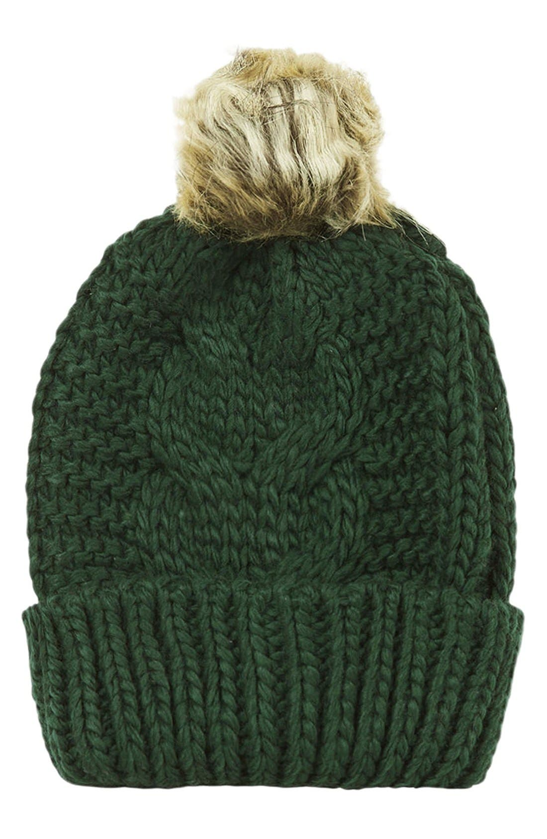 Alternate Image 1 Selected - Topshop Faux Fur Cable Beanie