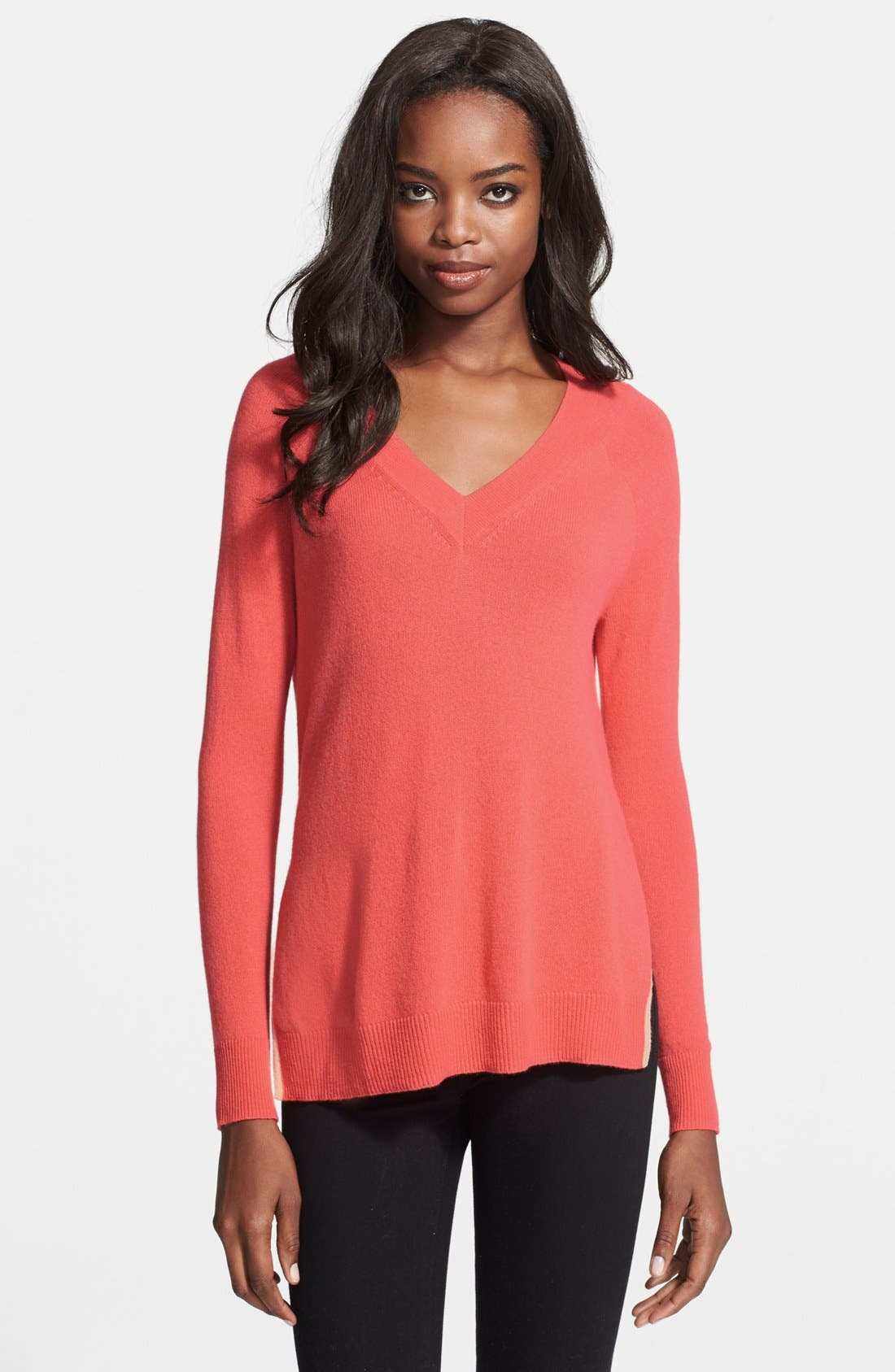 Alternate Image 1 Selected - autumn cashmere Contrast Piping Side Slit Cashmere Tunic