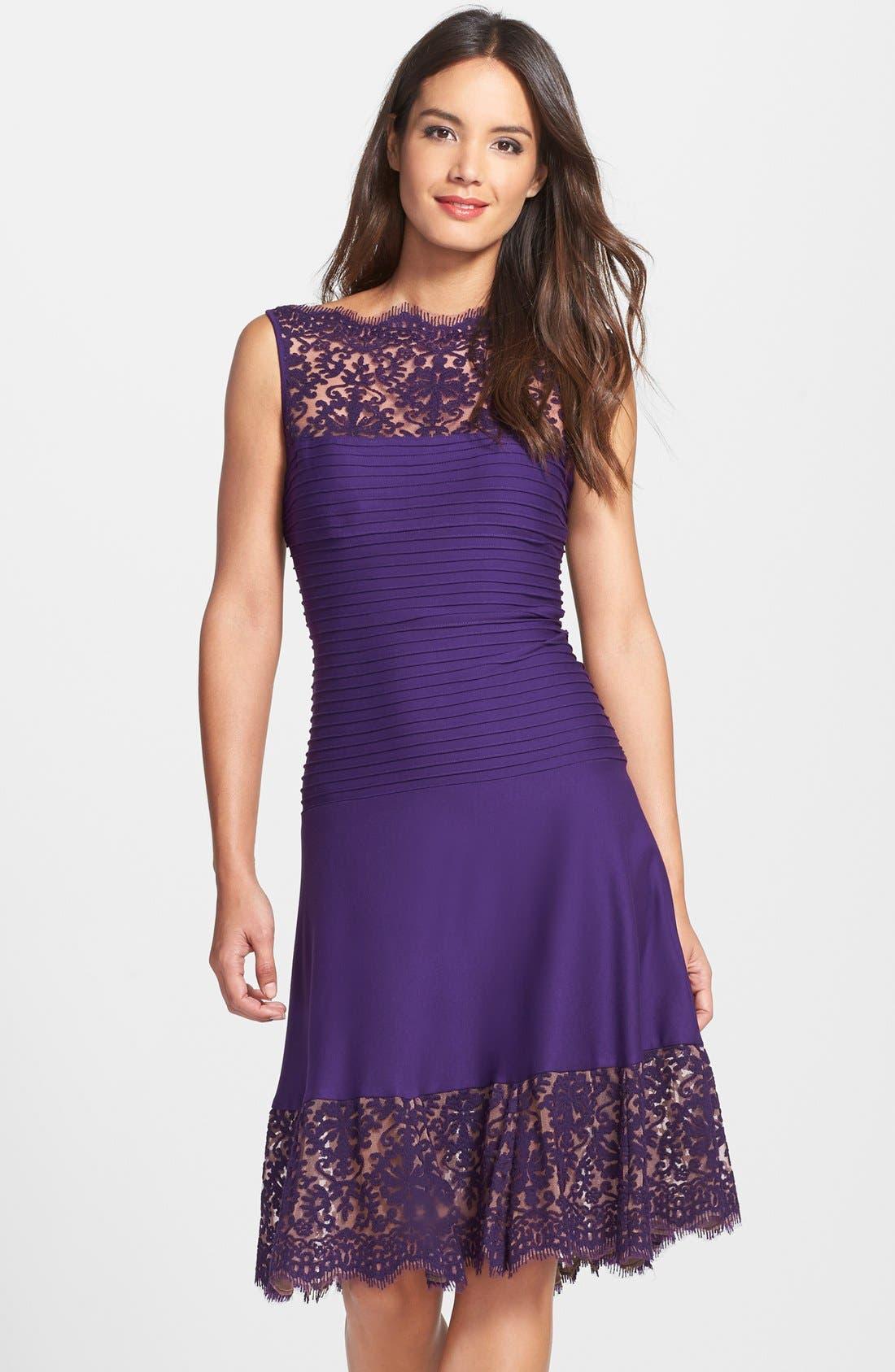 Main Image - Tadashi Shoji Lace Trim Pintuck Jersey Fit & Flare Dress