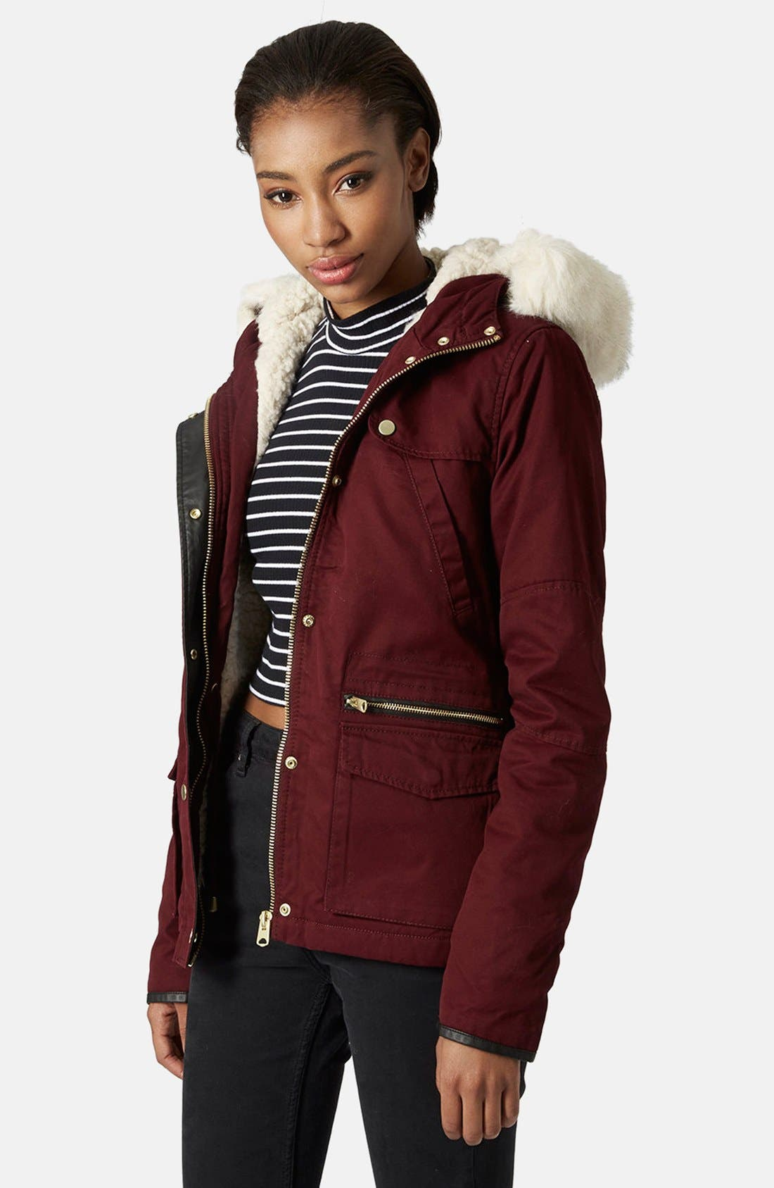 Main Image - Topshop 'Walter' Hooded Cotton Parka with Faux Fur Trim
