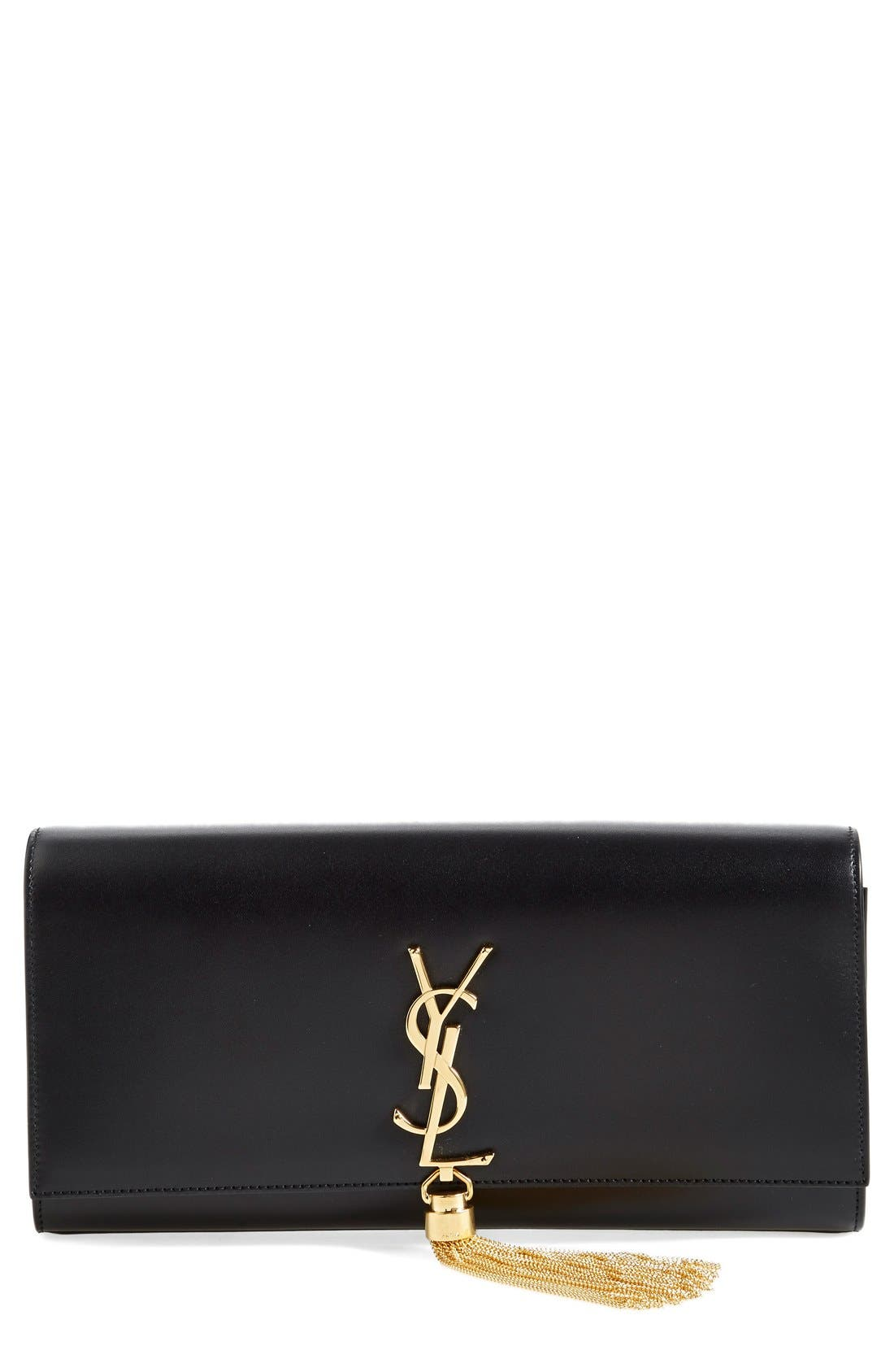 Main Image - Saint Laurent 'Cassandre' Tassel Leather Clutch