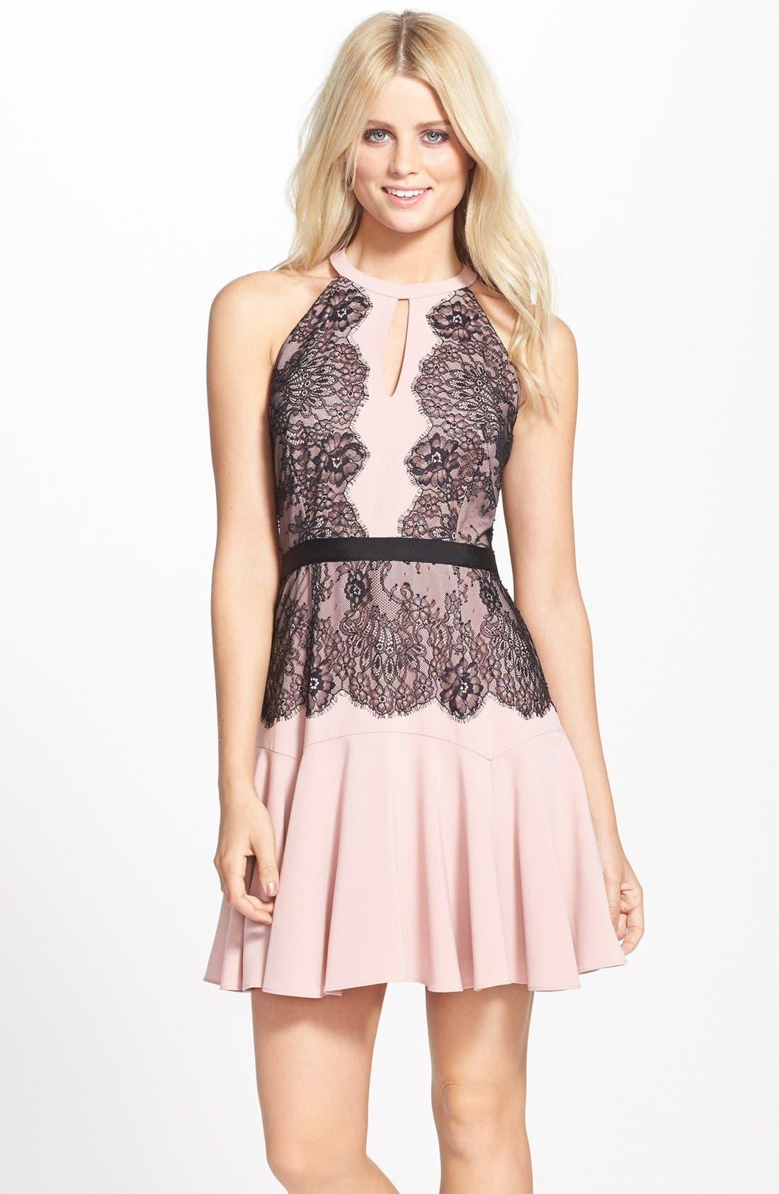 Alternate Image 1 Selected - BCBGMAXAZRIA 'Leyla' Fit & Flare Halter Dress
