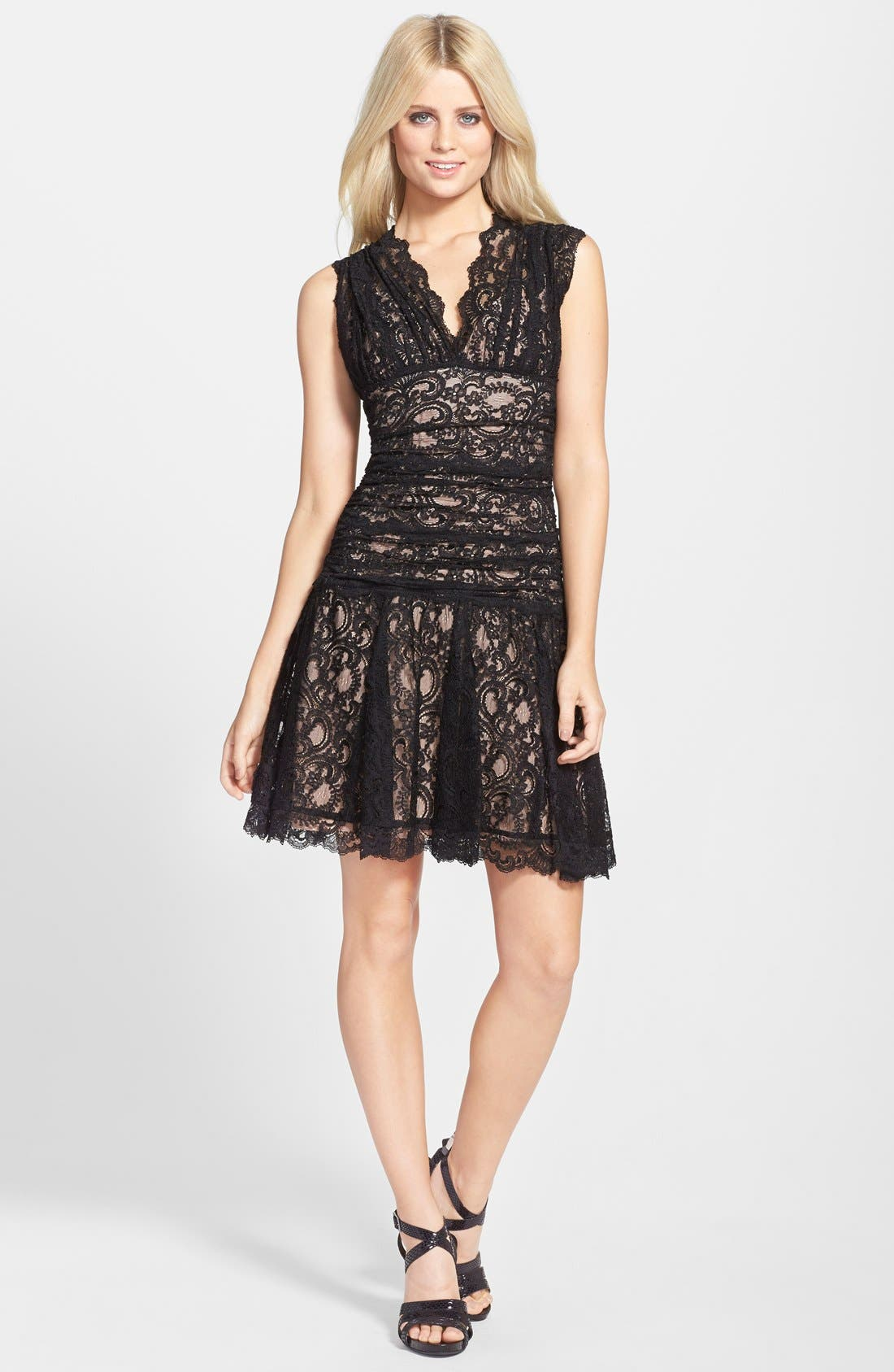 Alternate Image 3  - Nicole Miller Stretch Lace Fit & Flare Dress
