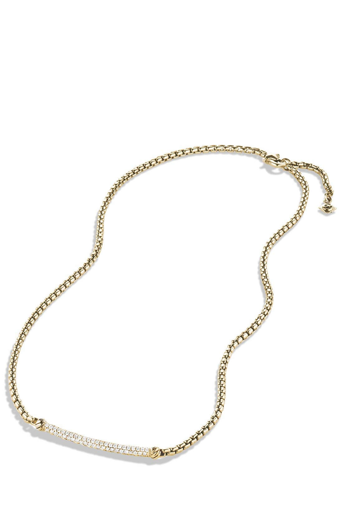 Alternate Image 2  - David Yurman 'Petite Pavé' Metro Chain Necklace with Diamonds in Gold
