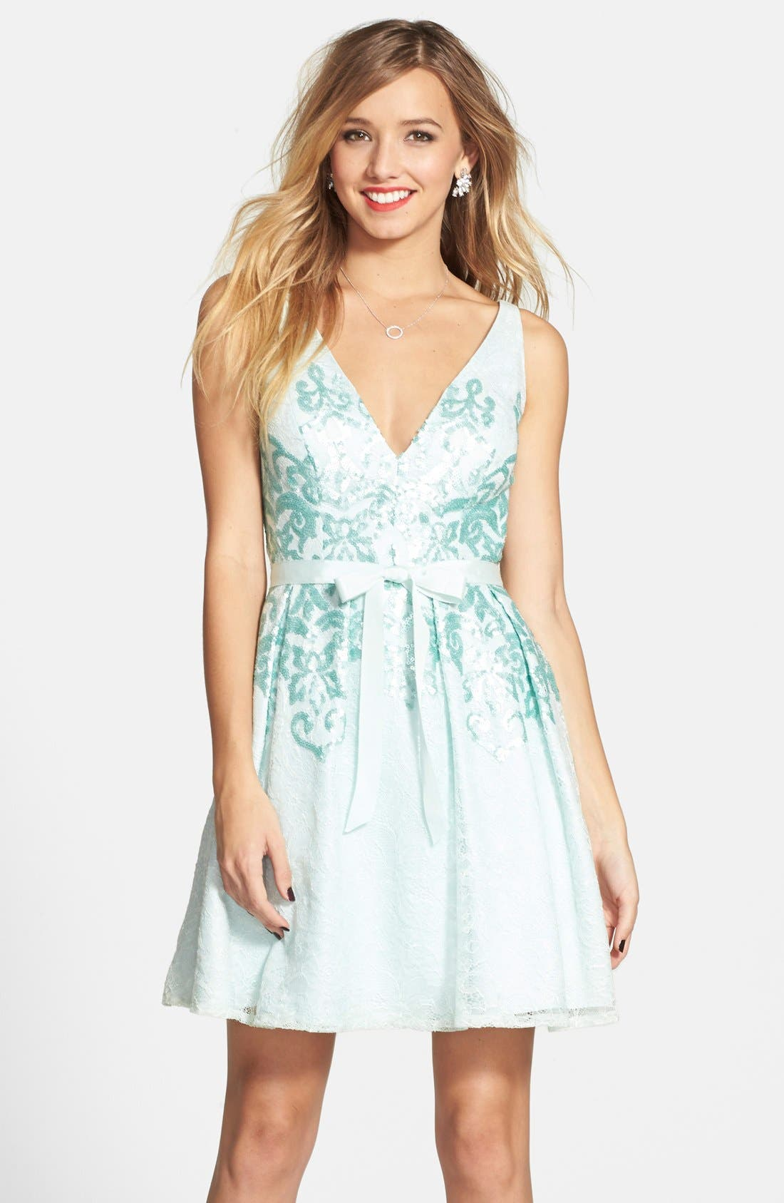 Main Image - Hailey by Adrianna Papell Bow Detail Matte Sequin Fit & Flare Dress