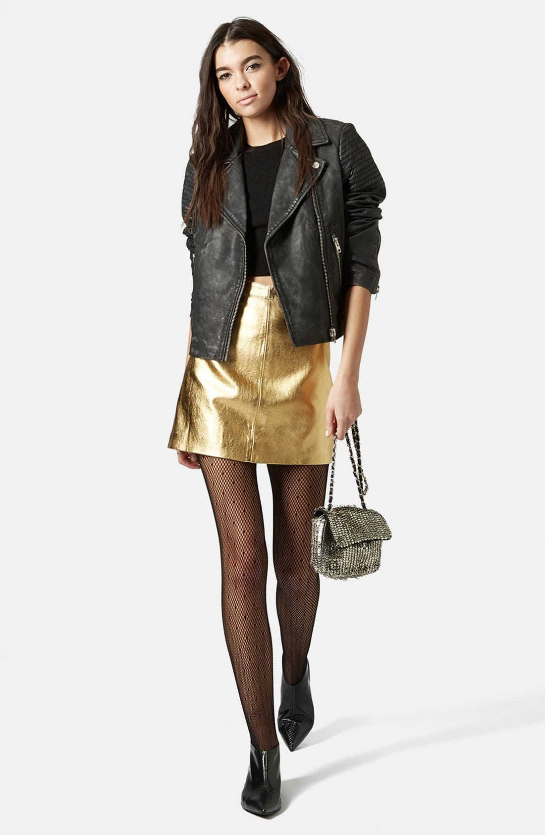 Alternate Image 5  - Topshop Golden Miniskirt