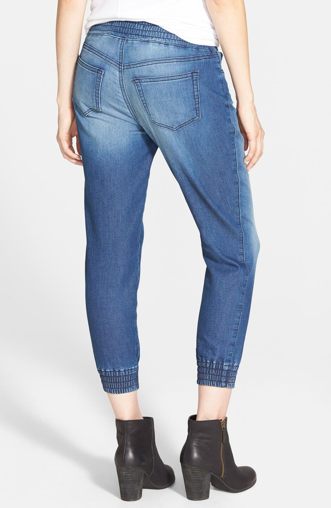 Alternate Image 2  - SP Black Denim Print Knit Crop Jogger Pants