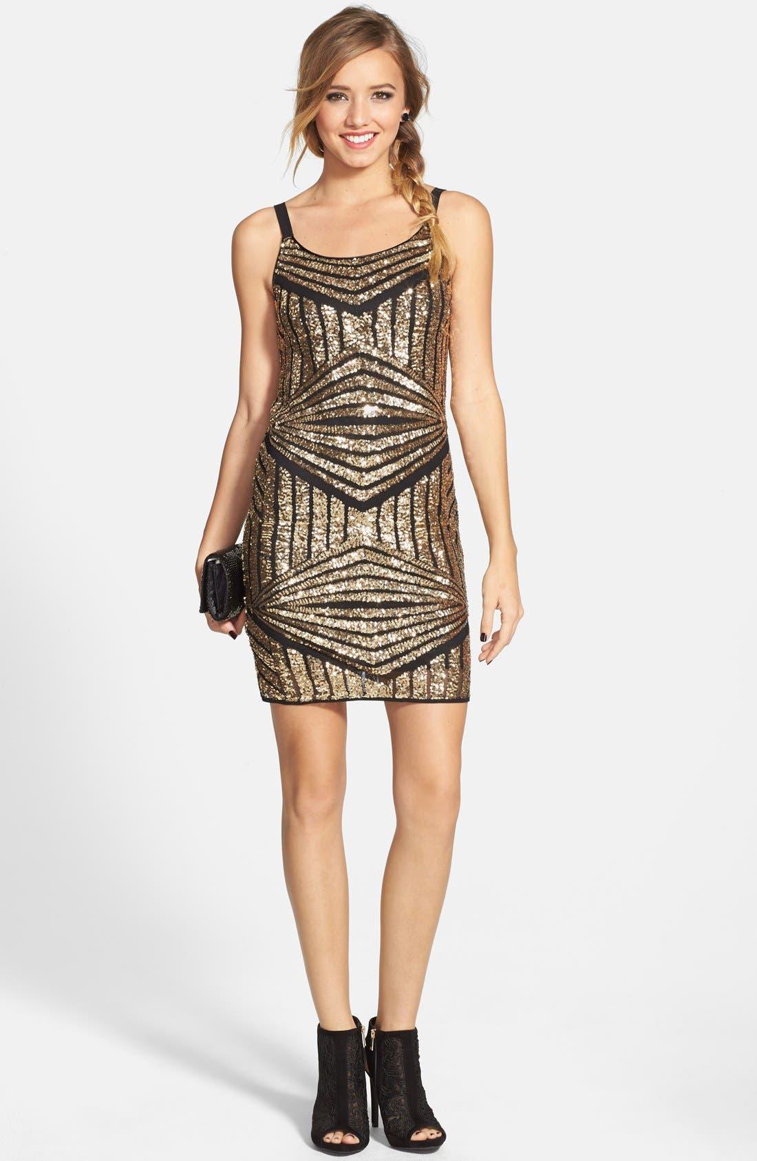 Main Image - Soprano Sequin Sheath Dress (Juniors)