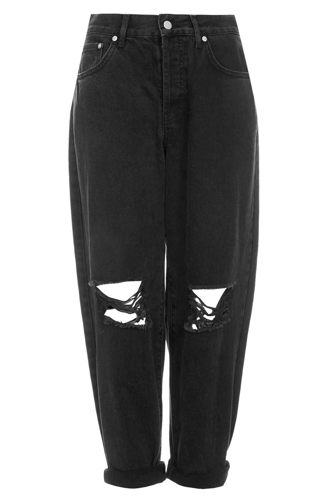 Alternate Image 3  - Topshop Boutique Ripped Baggy Jeans (Black)