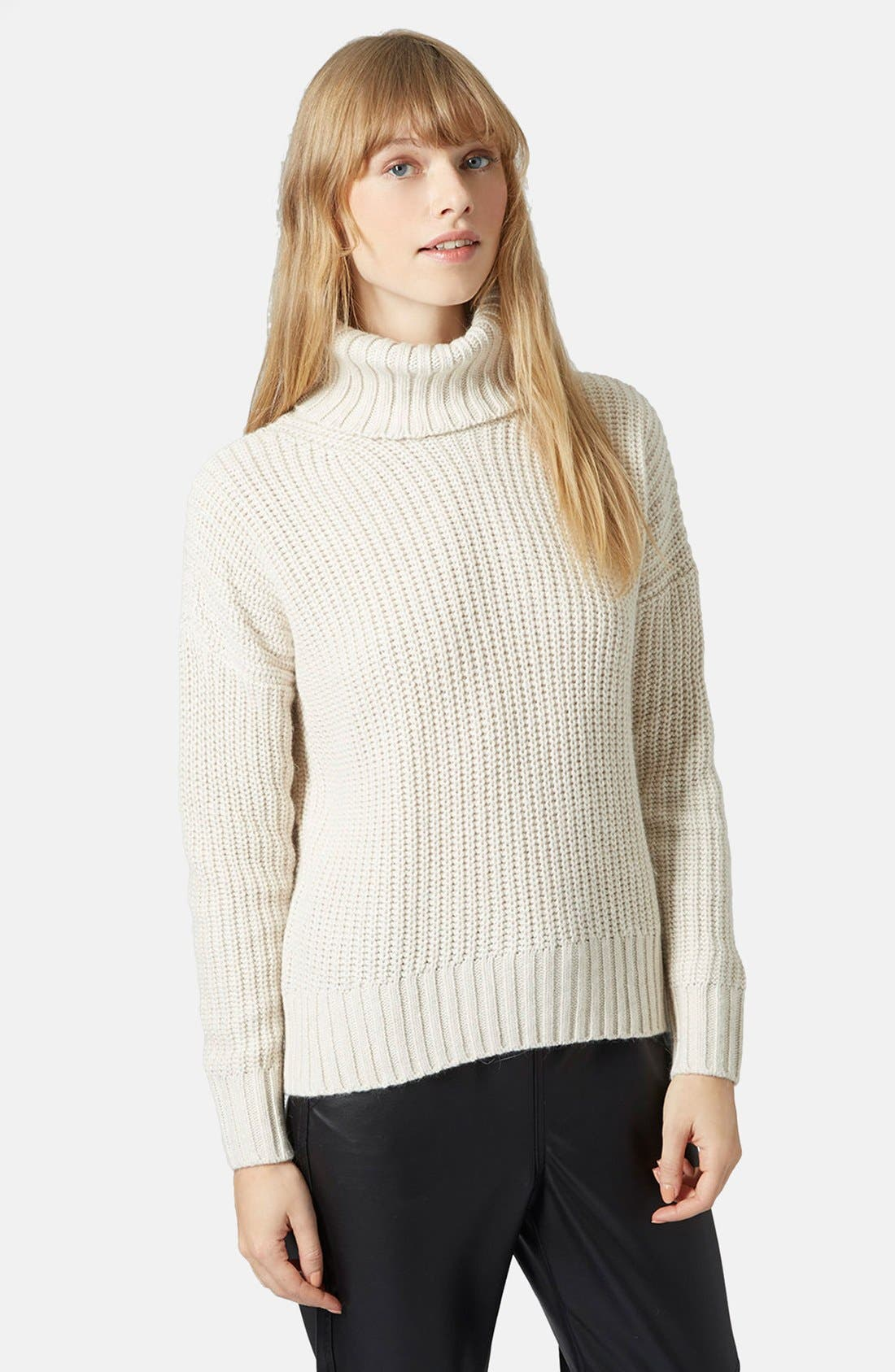 Main Image - Topshop Chunky Ribbed Turtleneck Sweater