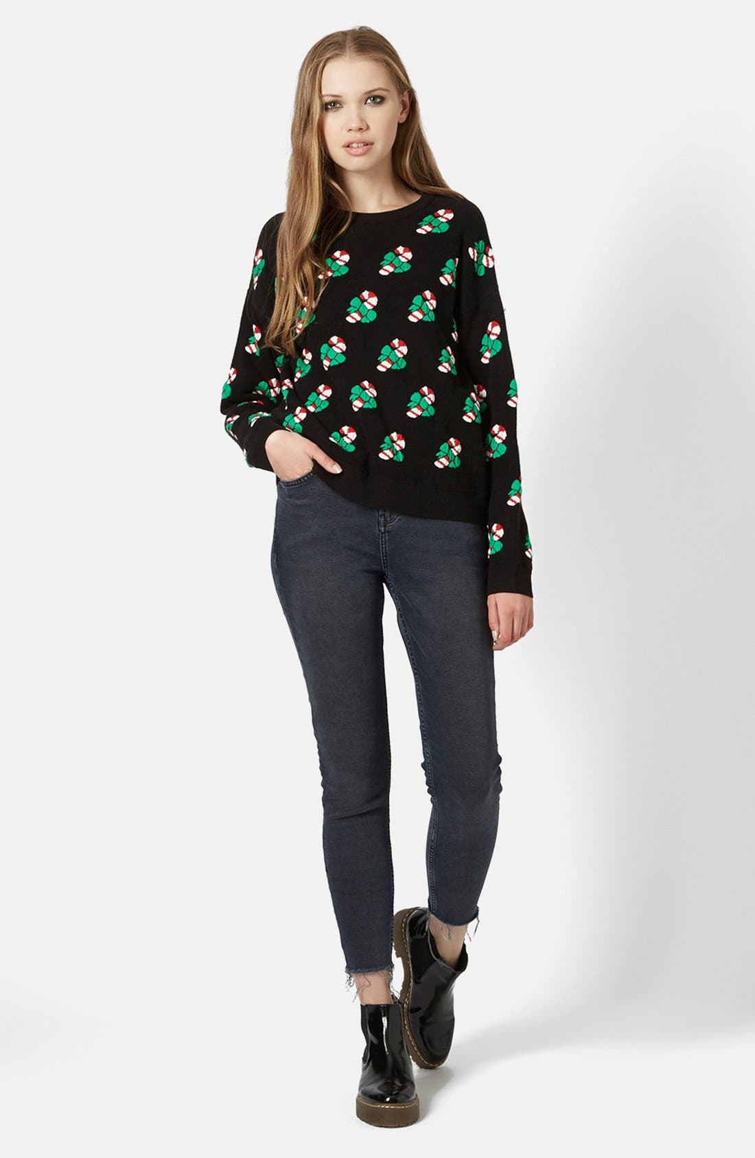 Main Image - Topshop Candy Cane Sweater